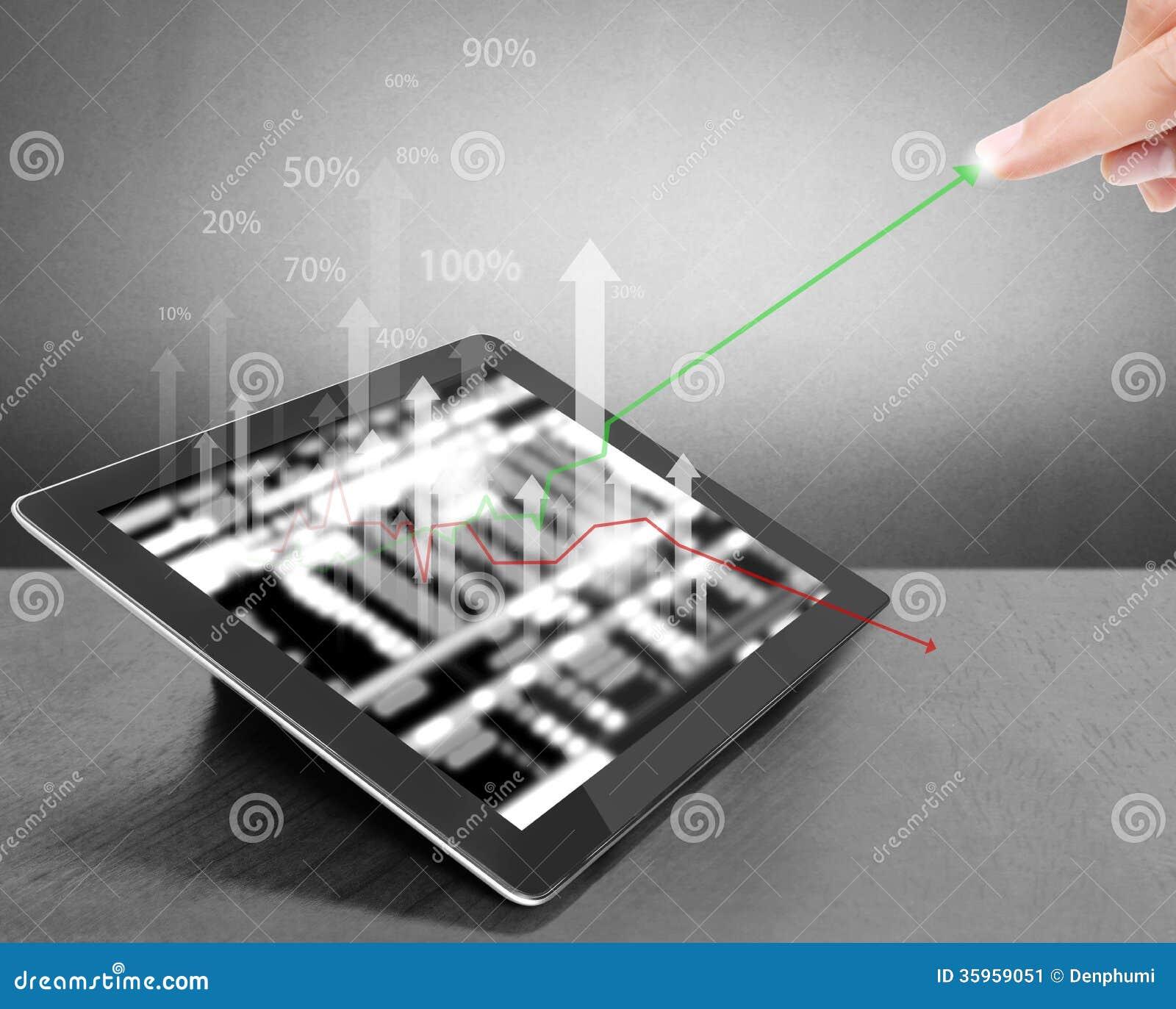 Tableta de la pantalla táctil con el gráfico