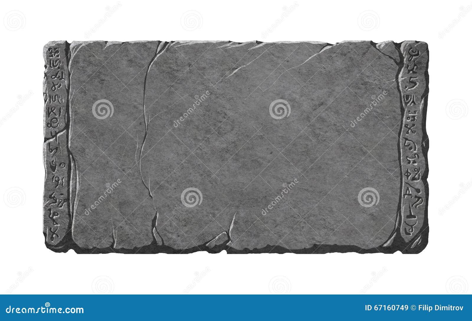 Tableta de piedra con el extranjero o símbolos de la fantasía/runas