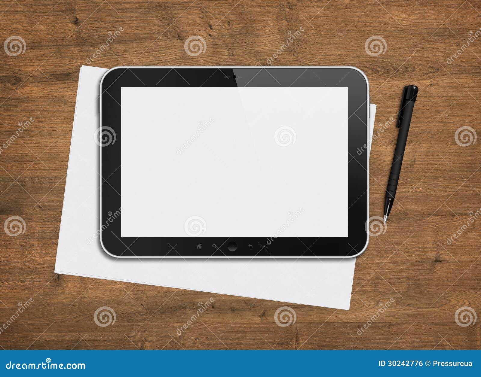 Tableta digital en blanco en un escritorio