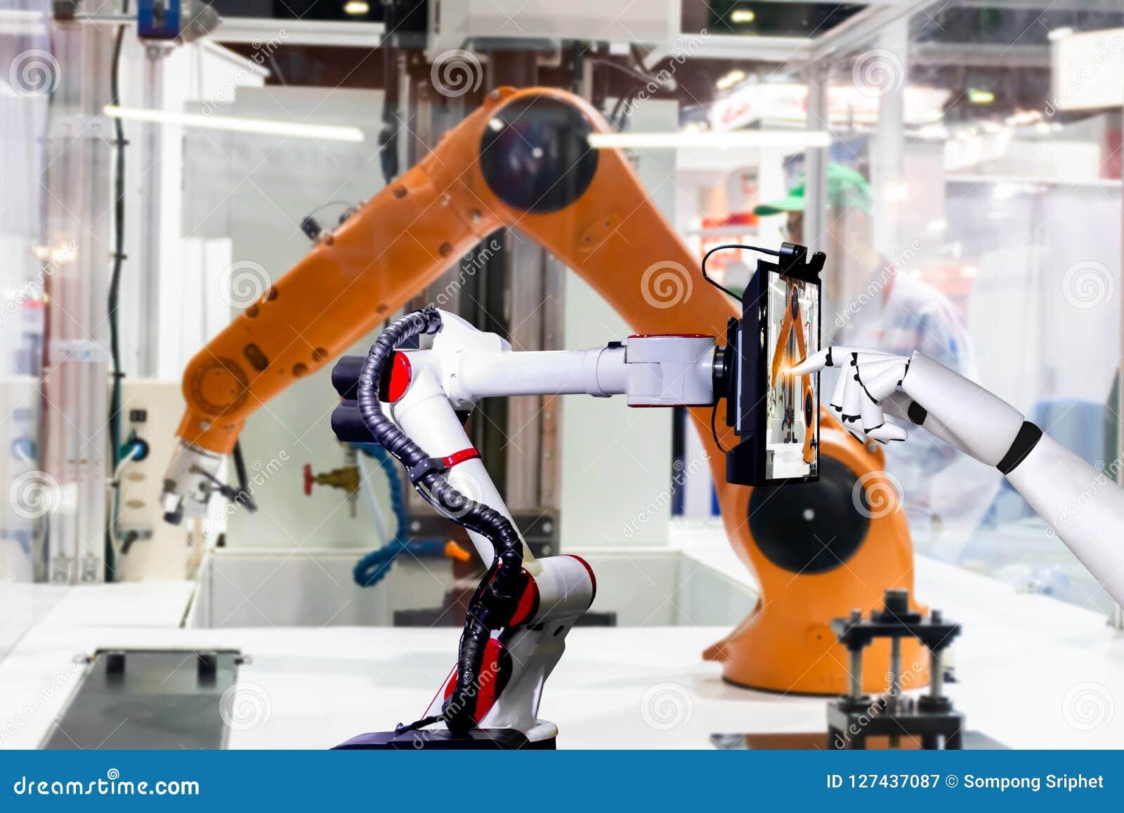 Tableta elegante de fabricación automatizada artificial robótica de la pantalla táctil del robot