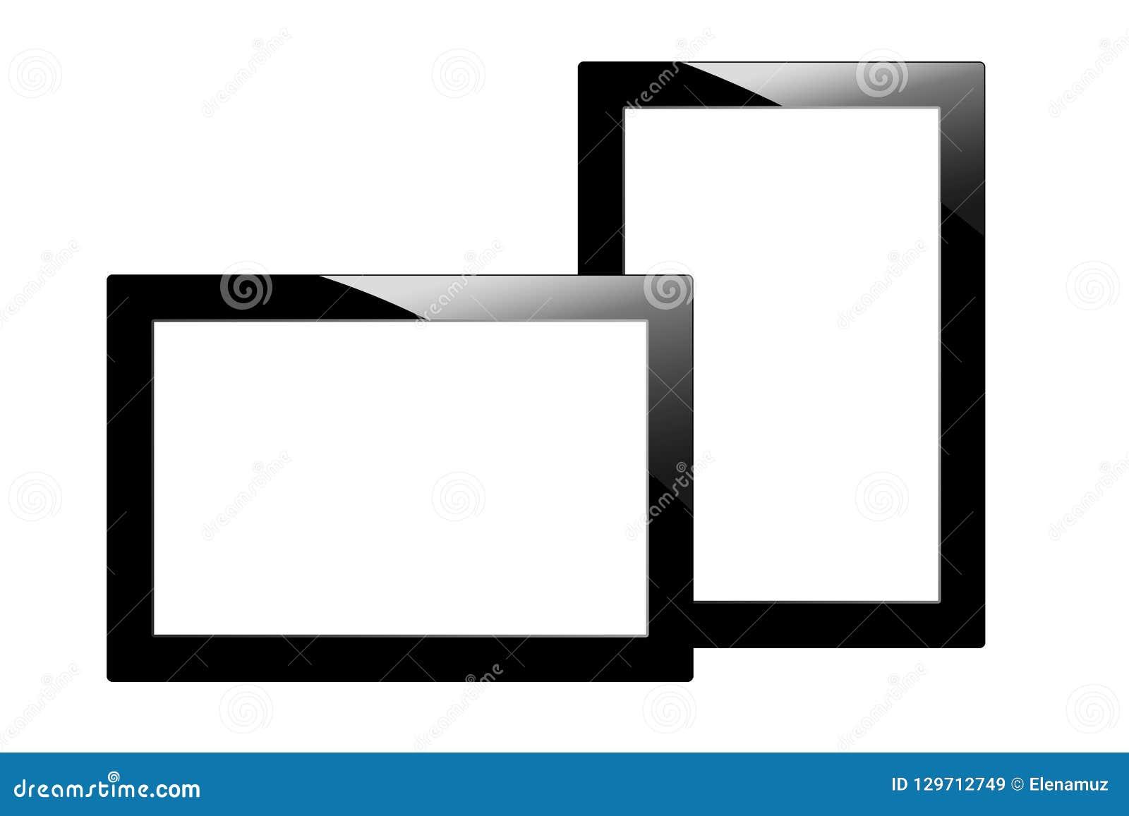 Tableta negra moderna aislada en el fondo blanco PC y pantalla de dos tabletas con el For Your Information en blanco