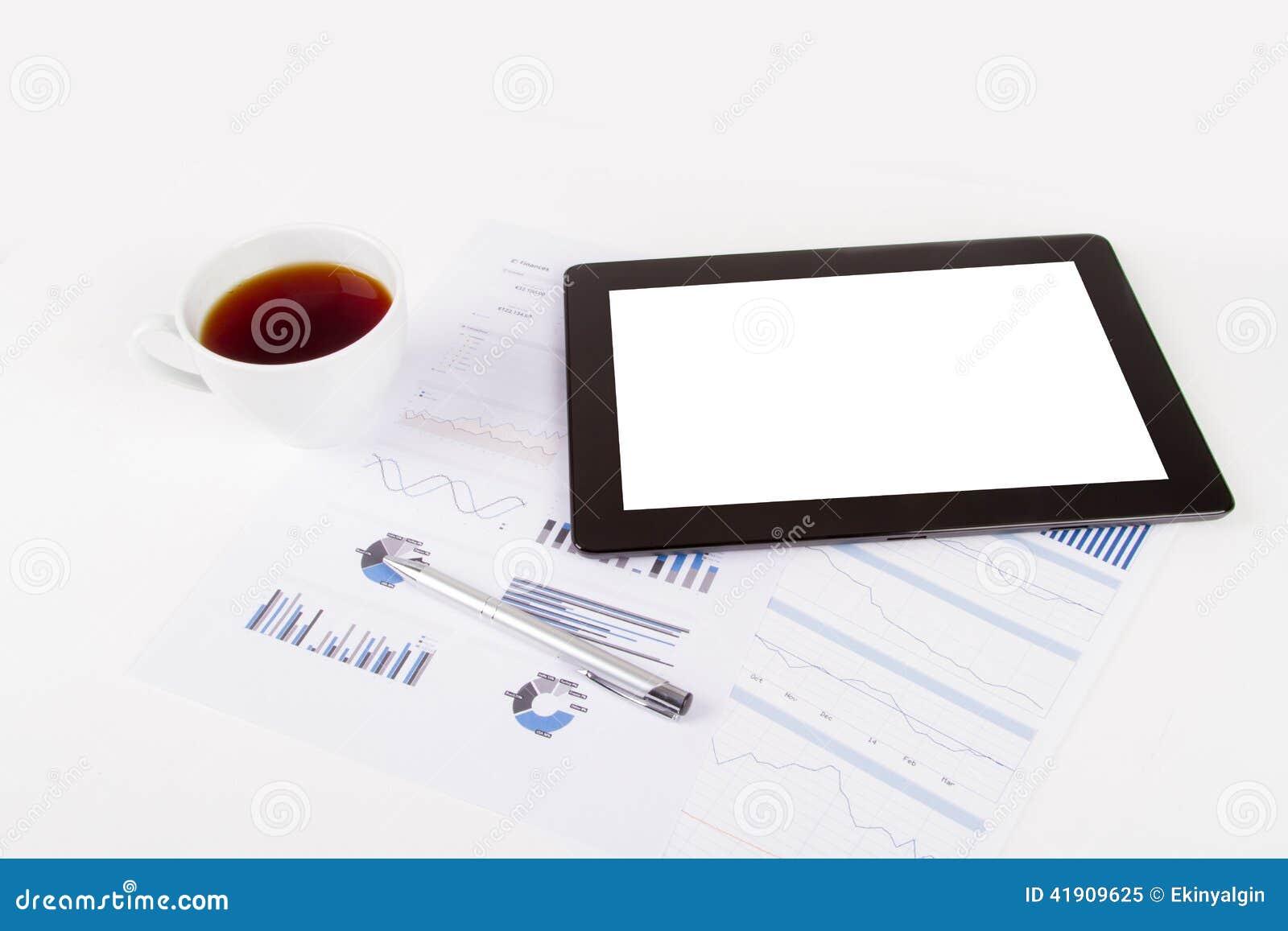 Tableta, té en cartas financieras del gráfico