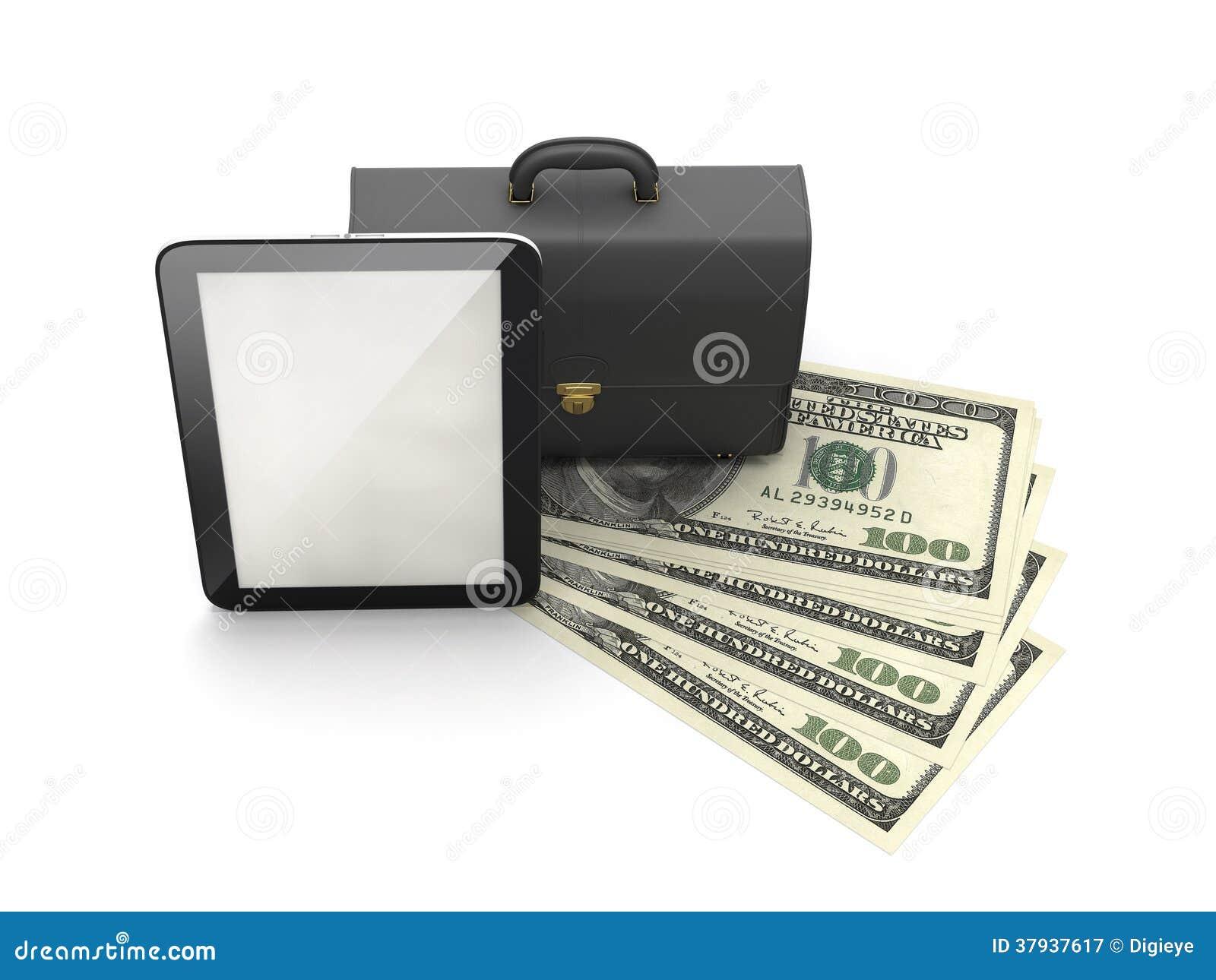 Tabletcomputer, leeraktentas en dollarrekeningen