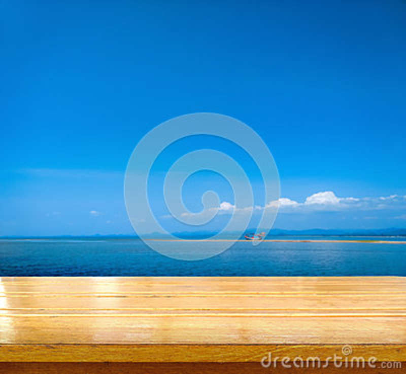 Wood Table Top On Blurred Beach Background Vintage Tone: Tabletop Sea Decoration Royalty-Free Stock Image