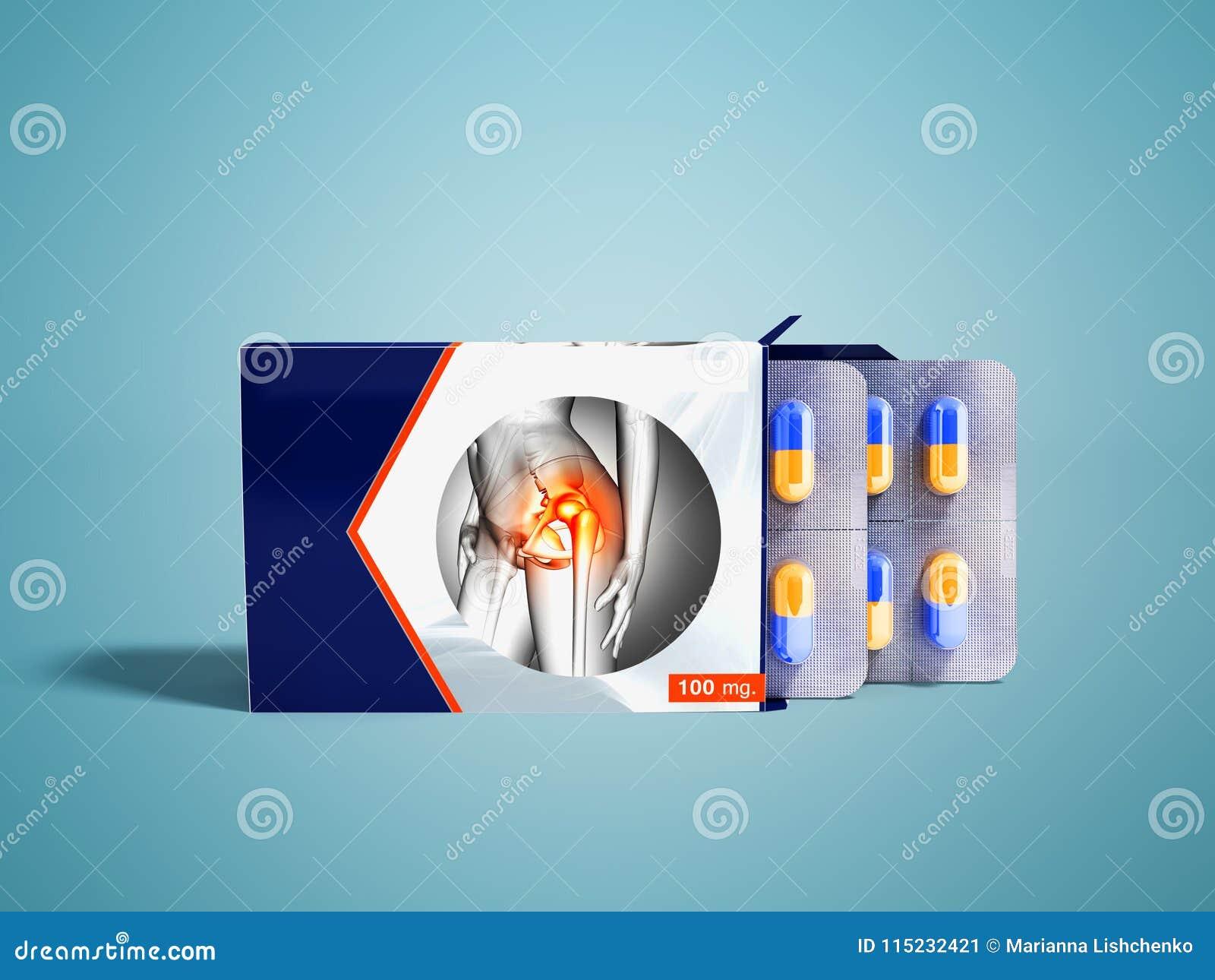 Tablets in den Platten eines Pakets zwei mit Kapseln von Gelenkschmerzen b