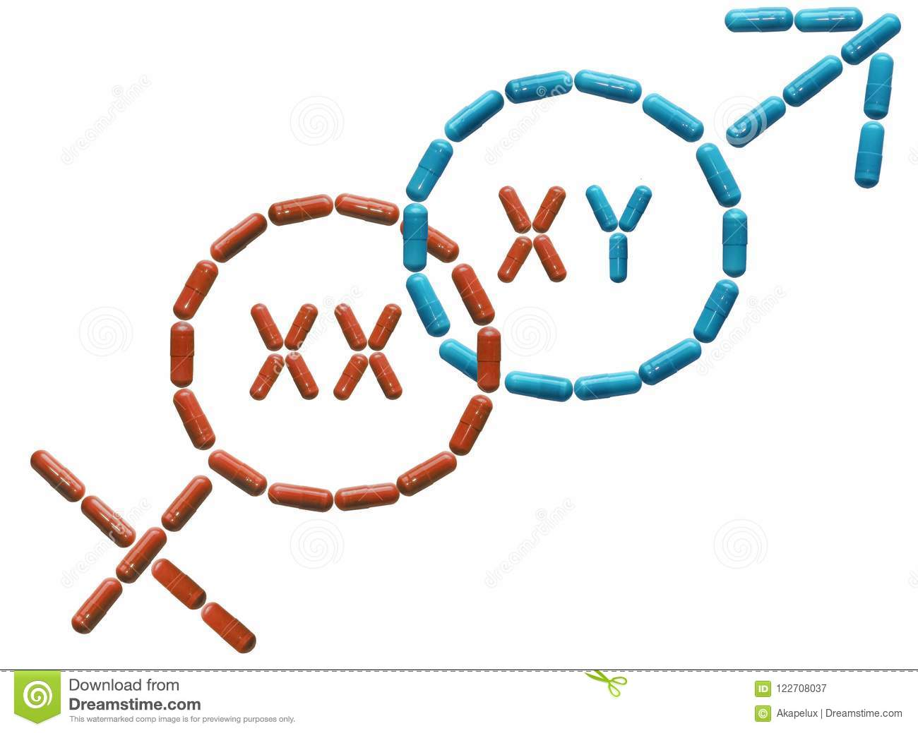Tablets Are Lined In A Female And Male Symbols With Chromosomes