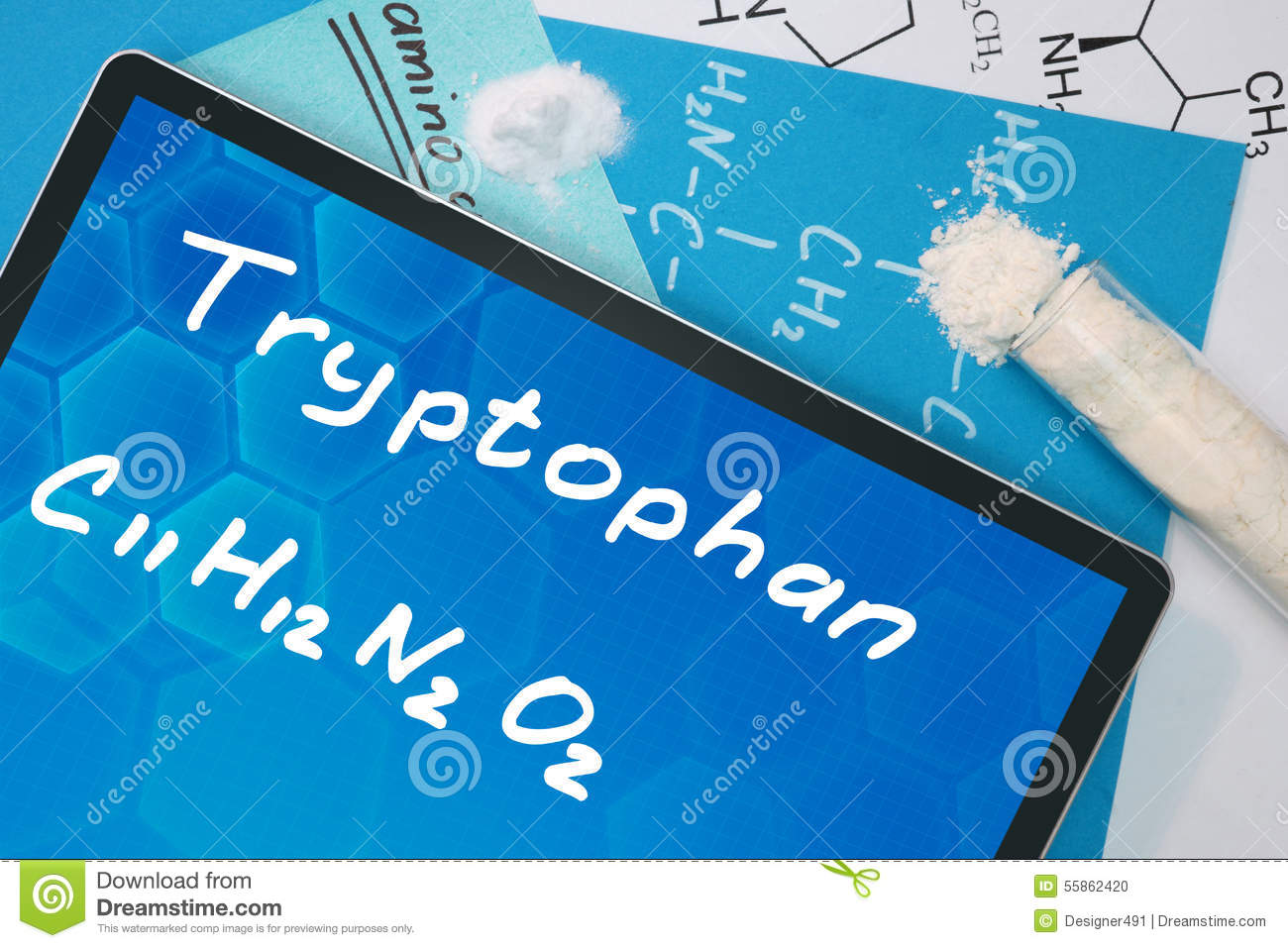 76dcd11659d0 Tablette Avec La Formule Chimique Du Tryptophane Photo stock - Image ...