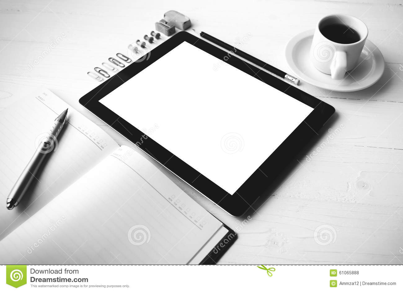 Tablette avec le style noir et blanc de couleur de fournitures de