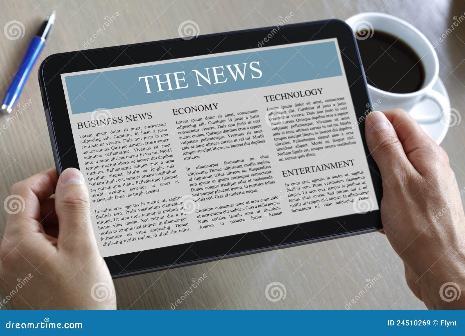 Tablette de Digitals affichant des nouvelles