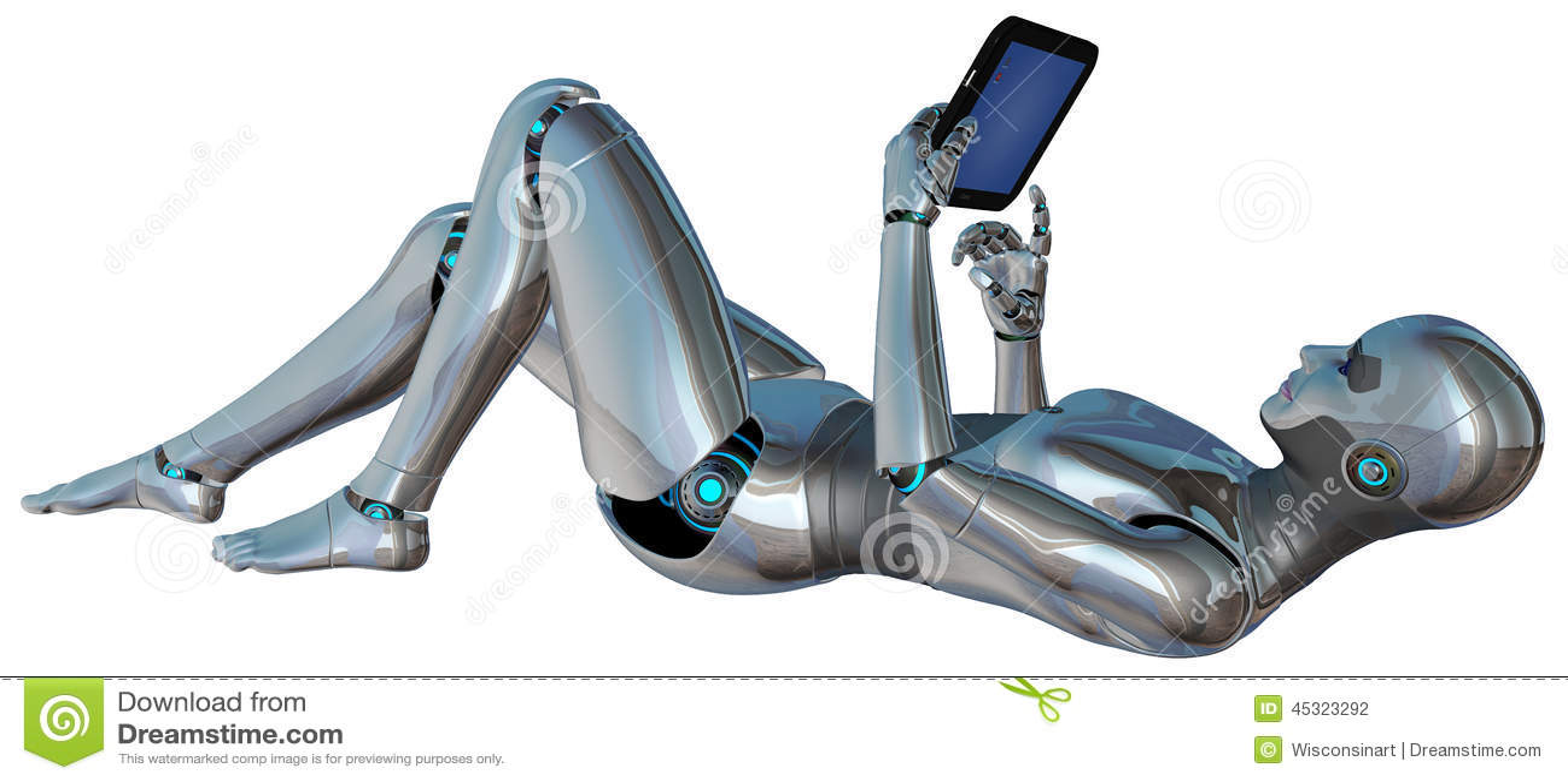 Nouveau Setup Wi-Fi et Bluetooth Tablette-de-femme-d-android-de-robot-d-isolement-45323292