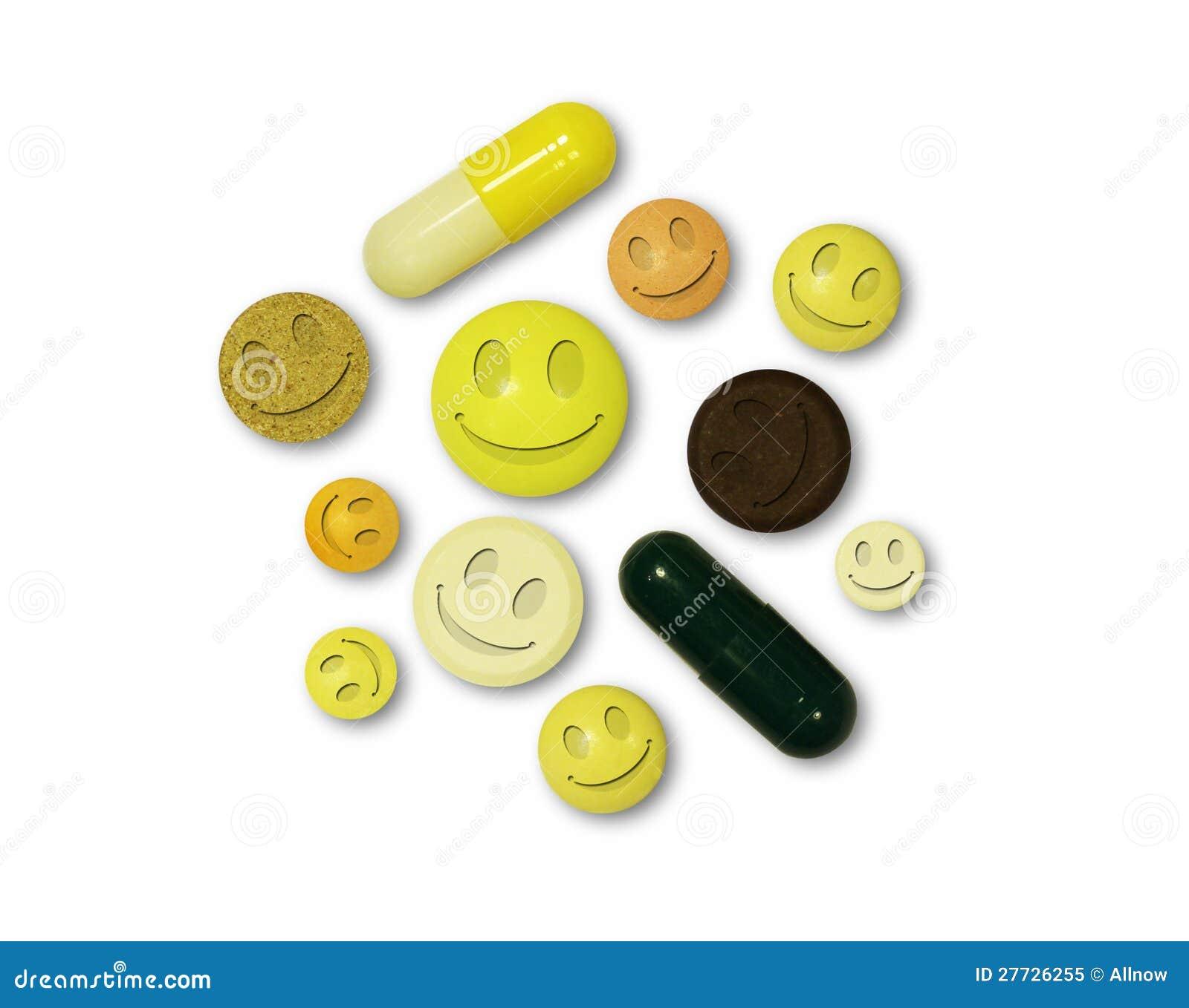 Tabletten mit Lächeln auf einem weißen Hintergrund