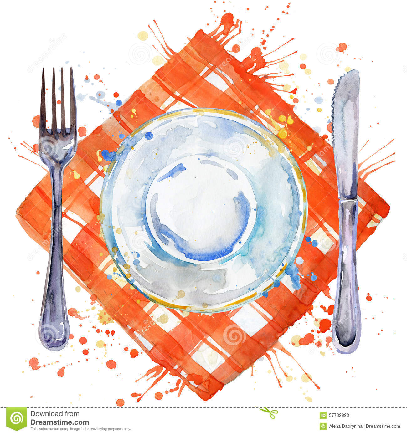 Tableware Cutlery Plates For Food Fork Table Knife And  : tableware cutlery plates food fork table knife cloth napkin watercolor background illustration 57732893 from www.dreamstime.com size 1300 x 1390 jpeg 260kB