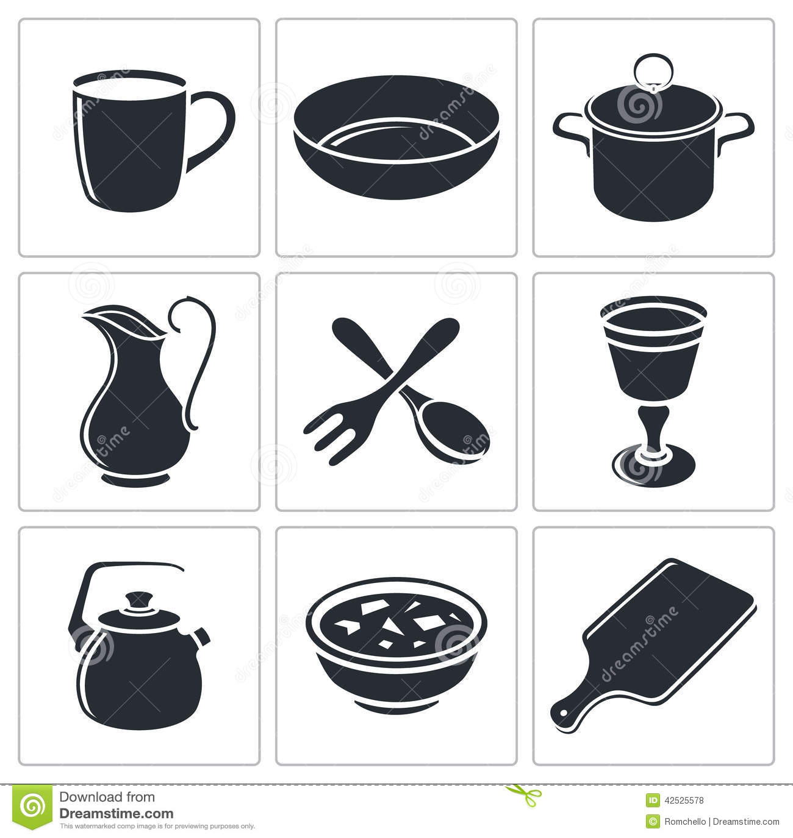 Tableware ikony kolekcja