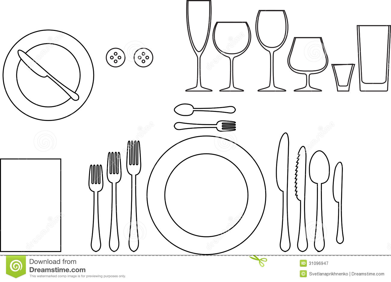 table settings stock vector - image: 45700839