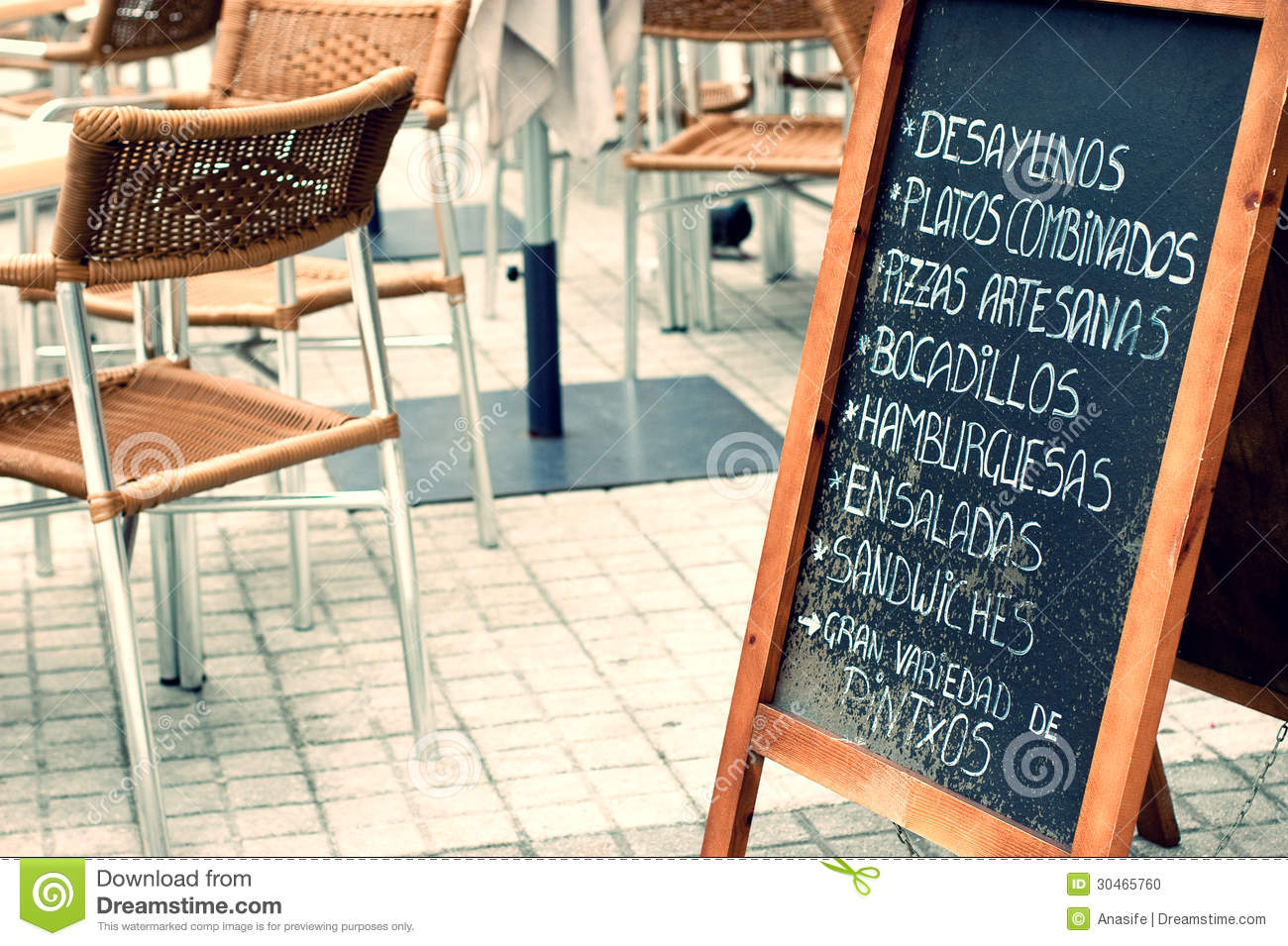 Tabloid with menu in a terrace stock photo image 30465760 for Antique thai cuisine san diego