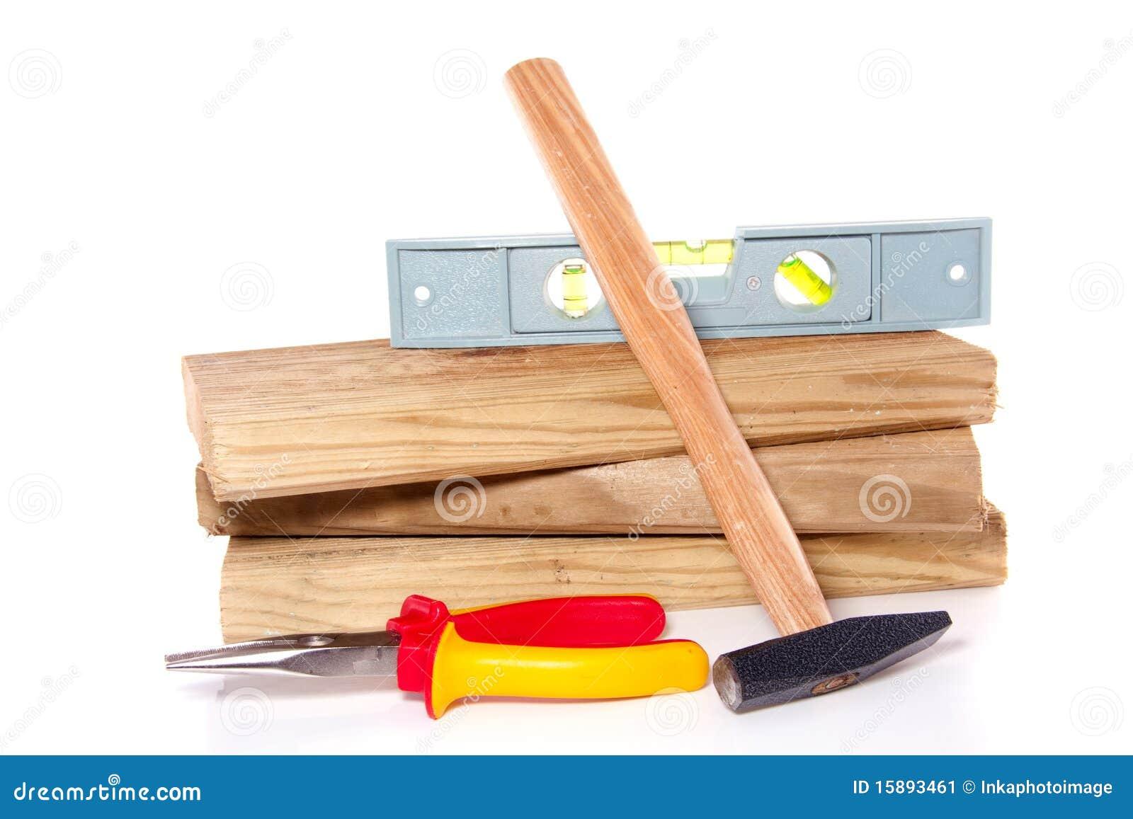 Tablones de madera con las herramientas del trabajo imagen - Herramientas de madera ...