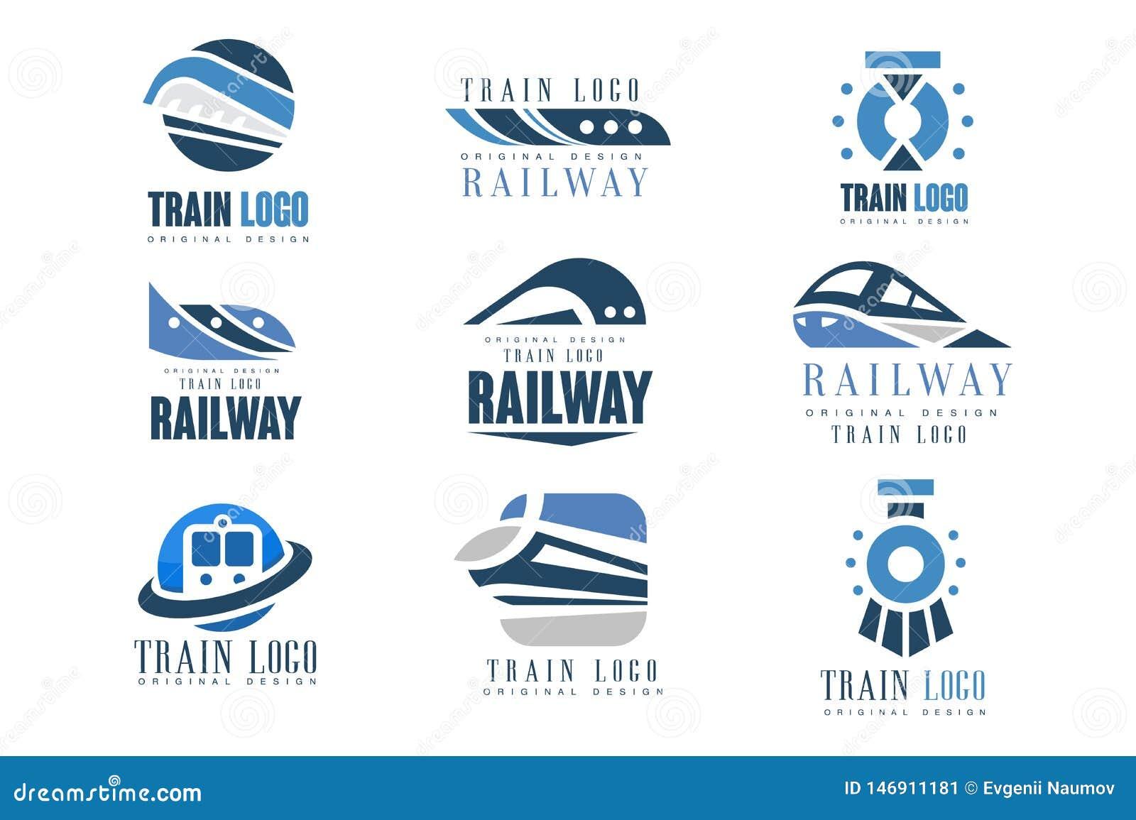 Taborowego loga projekta oryginalny set, nowo?ytne kolejowe linia kolejowa transportu emblemata odznaki wektoru ilustracje