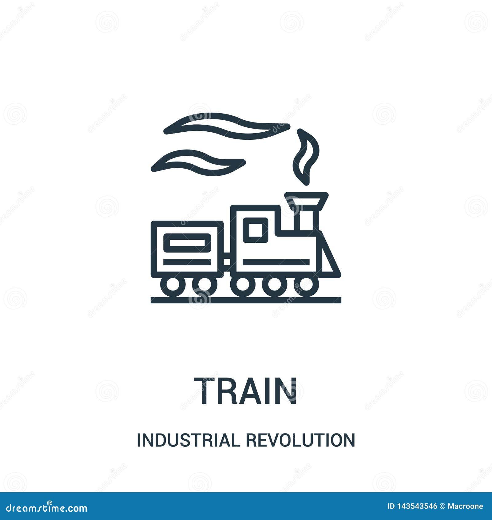 Taborowy ikona wektor od rewolucji przemysłowej kolekcji Cienka linia pociągu konturu ikony wektoru ilustracja
