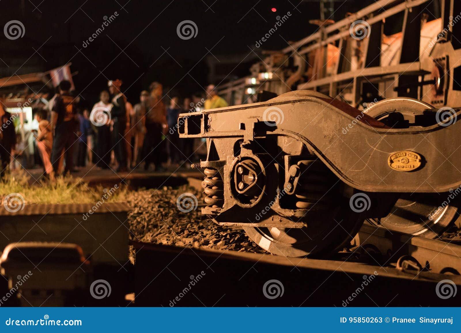 Taborowy wykolejenie w Nakhon Ratchasima, Tajlandia 10/7/2017