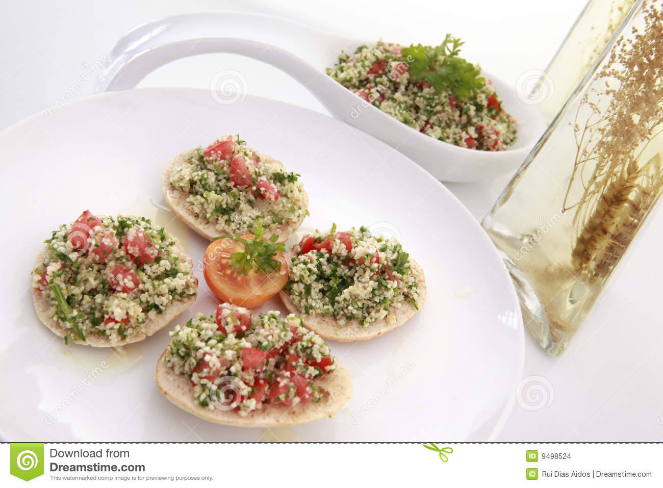 Tabouli On Pita Bread With Spiced Olive Oil Stock Images ...