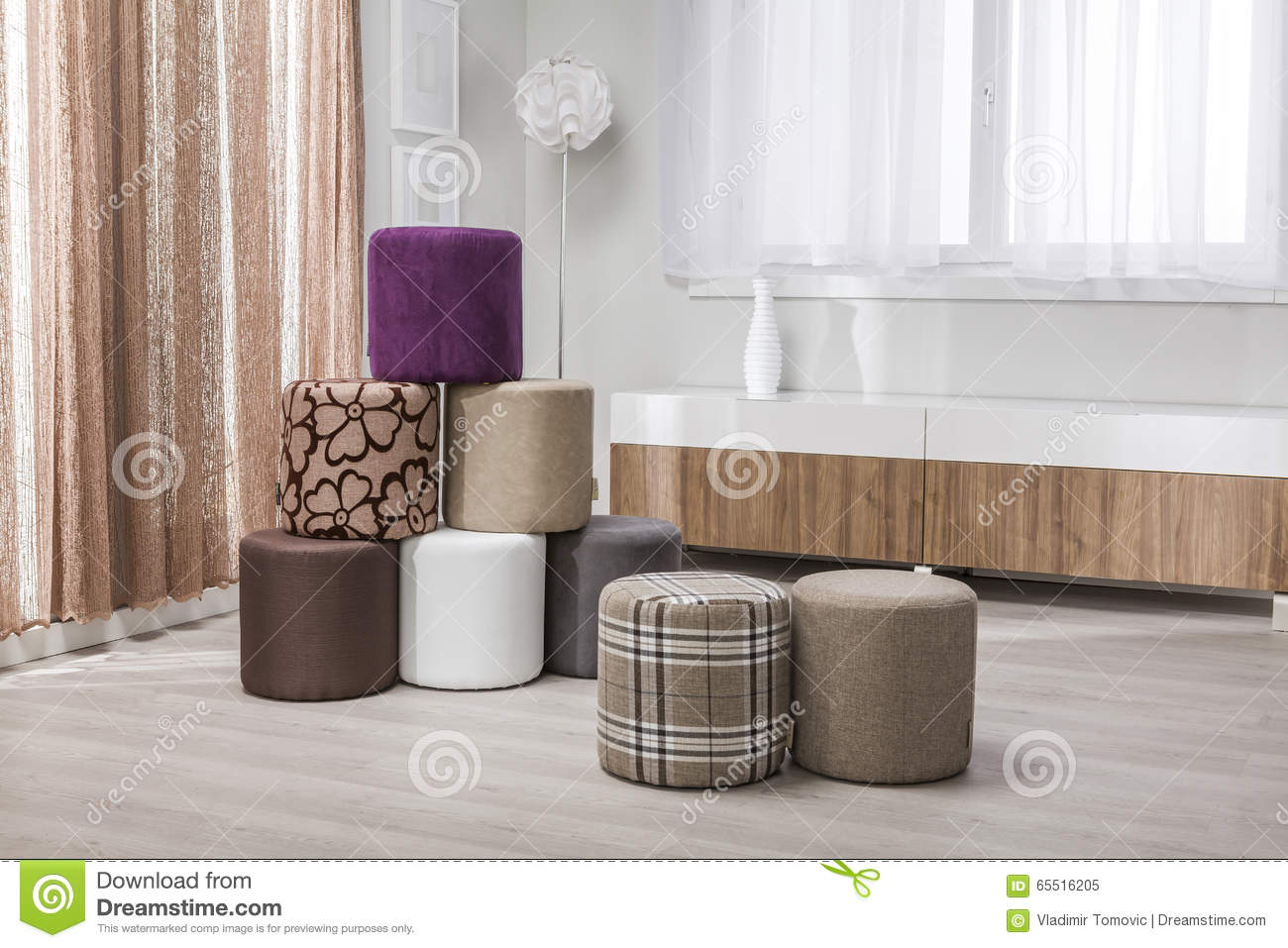 Tabouret - Stool In A Modern Interior - Living Room Stock Photo ...