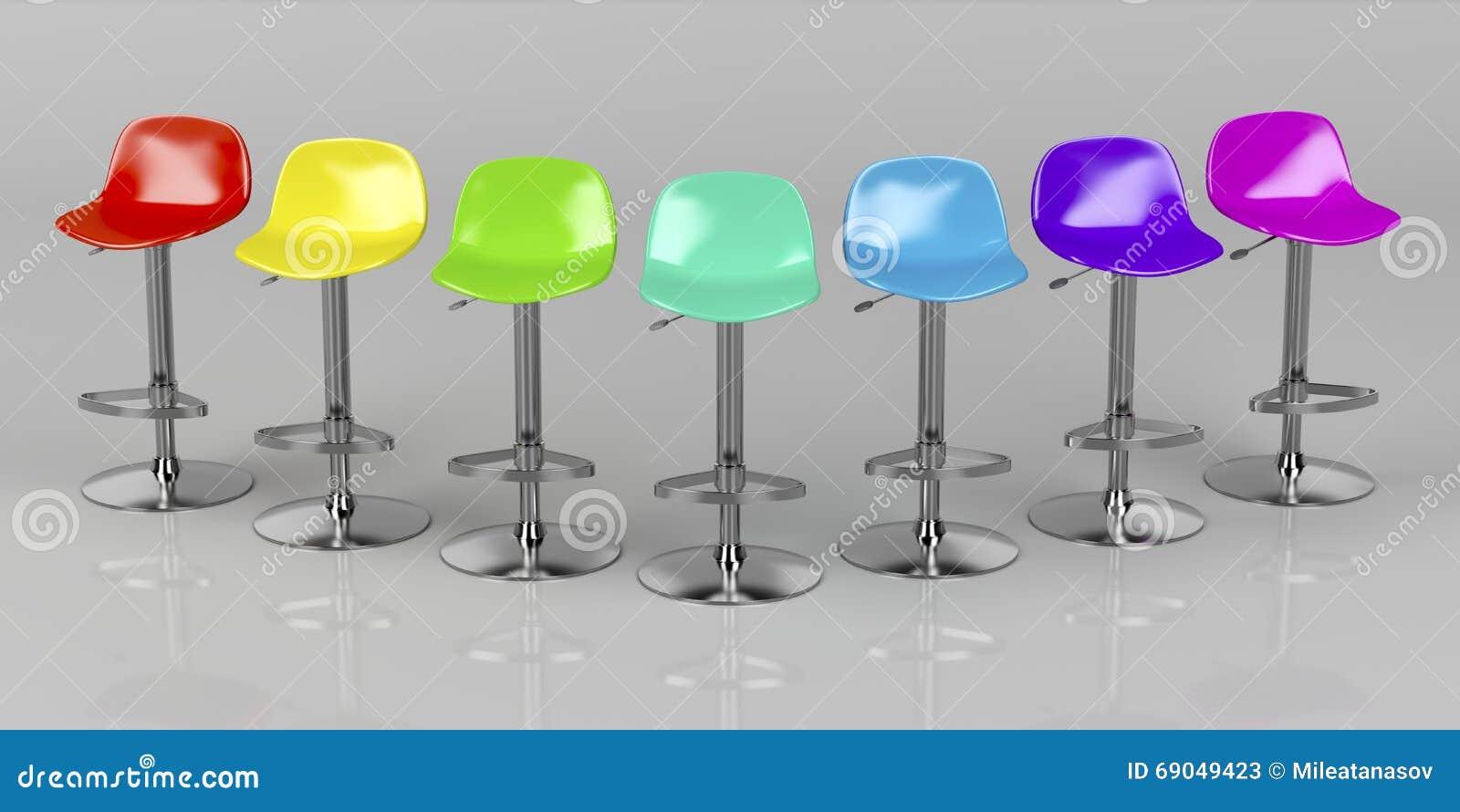 tabourets de bar colorés illustration stock. illustration du coloré