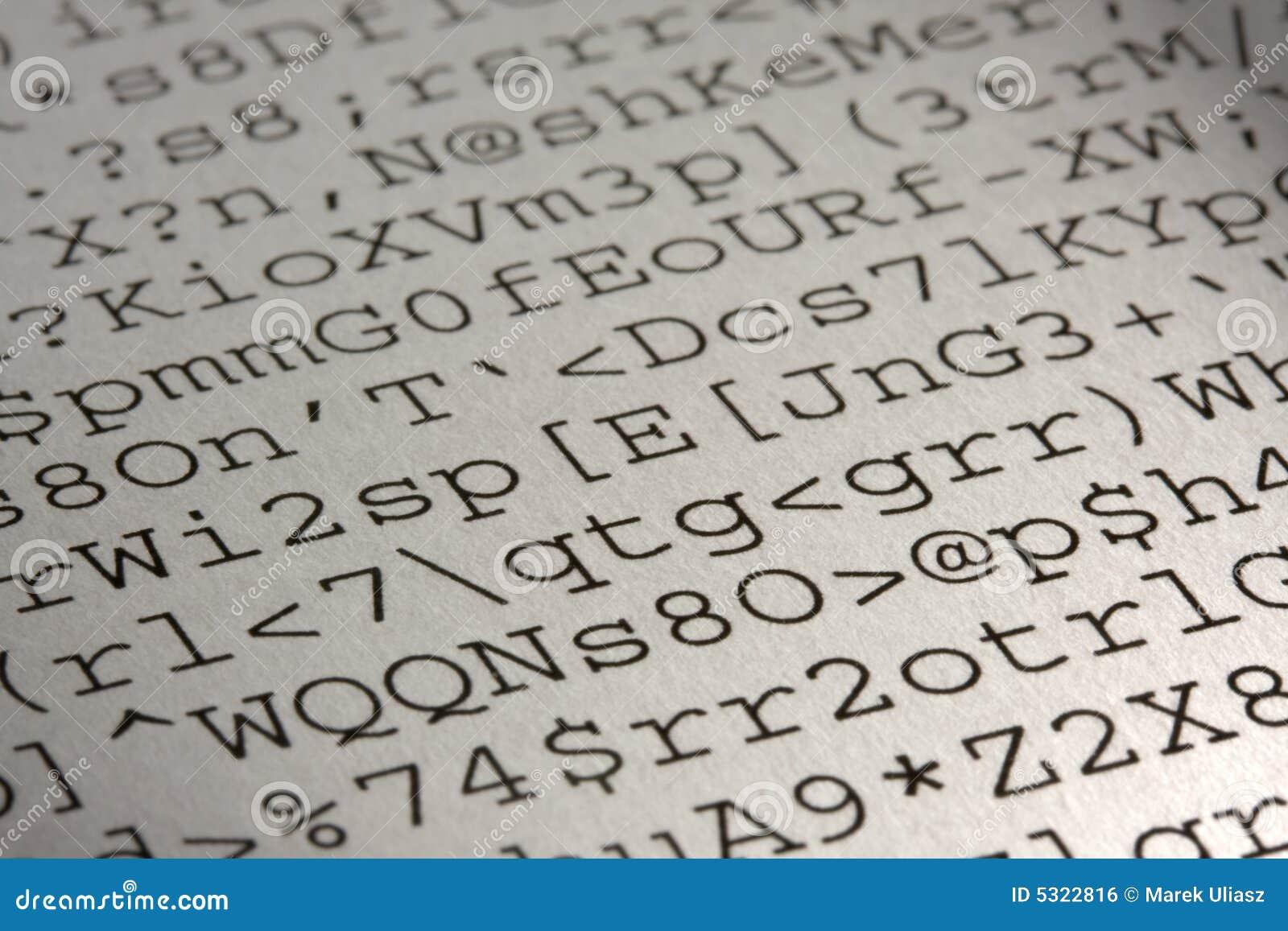 Download Tabulato Di Linguaggio Incomprensibile Del Calcolatore Fotografia Stock - Immagine di selettivo, carta: 5322816