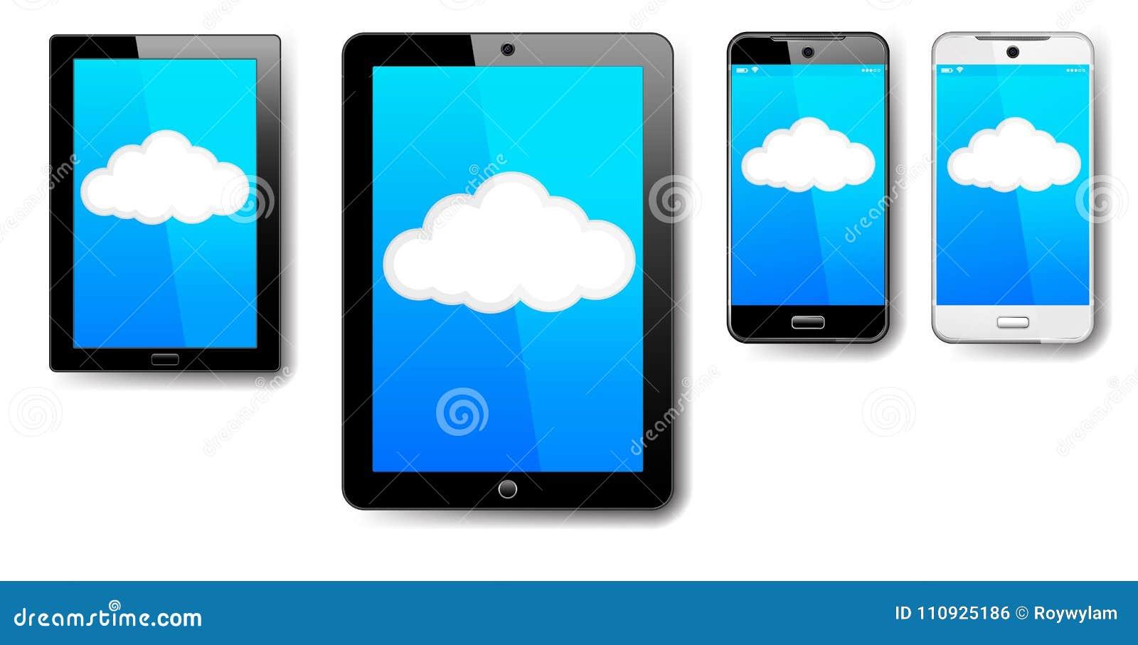 Tabuleta, computador, telefone, pilha, Smart, móbil, conexão da nuvem