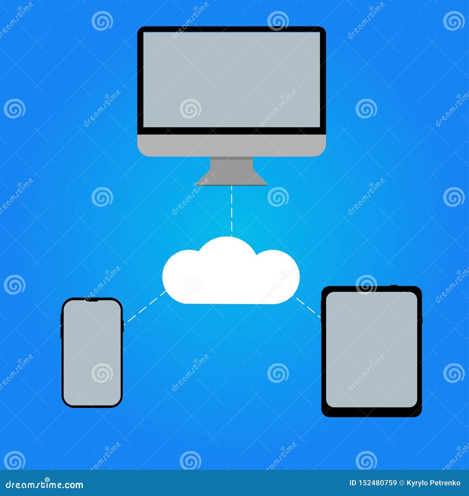 Tabuleta do telefone do computador ligada a uma outra