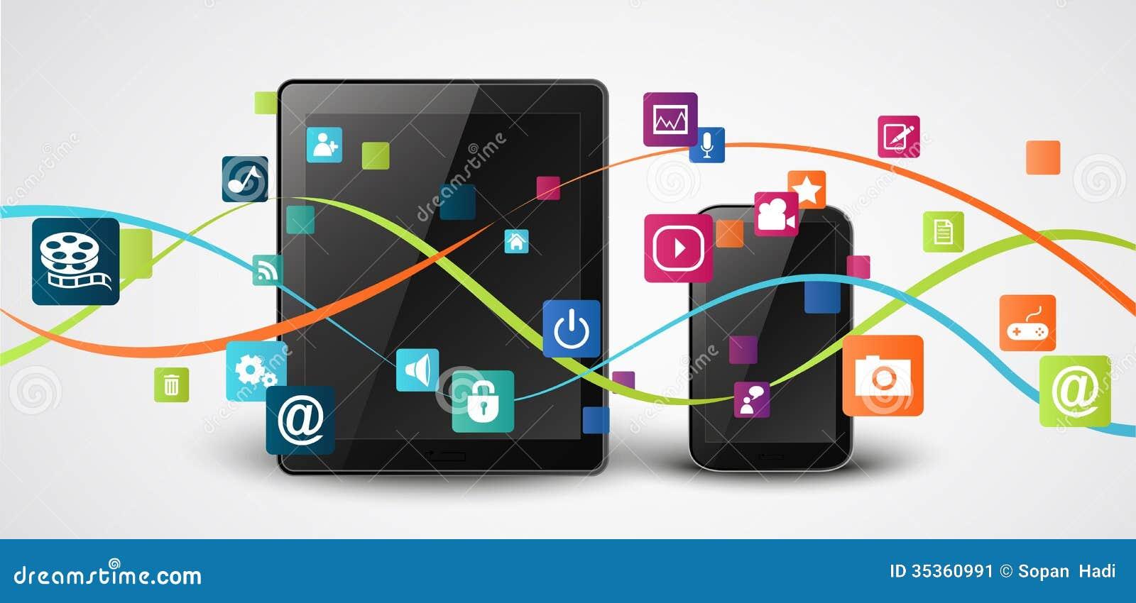 Tabuleta e telefones celulares com ícone colorido da aplicação
