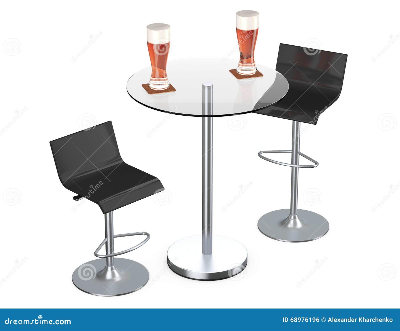 Taburetes negros del vintage de la barra con la tabla y los vidrios de cerveza