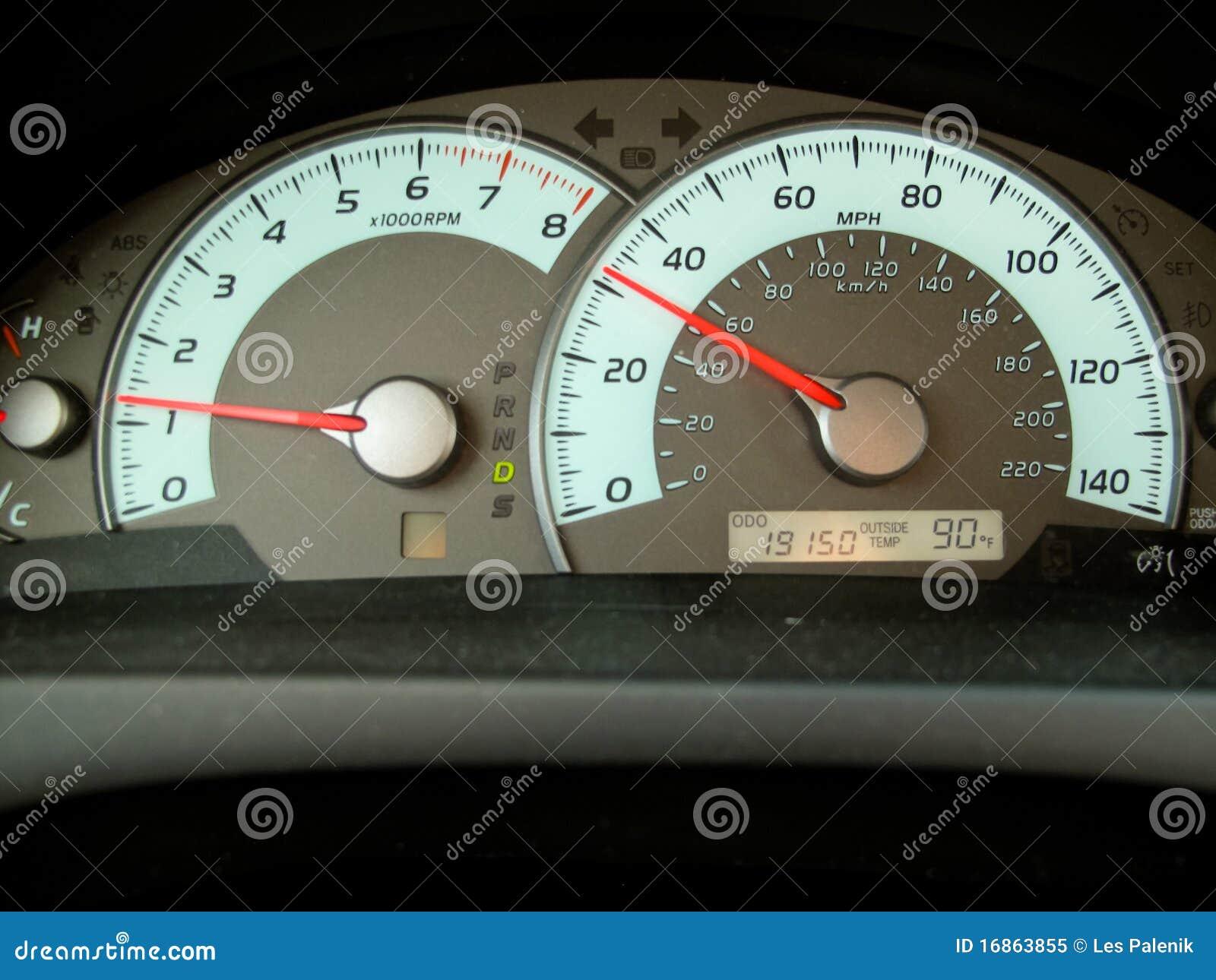 Tacômetro em um carro