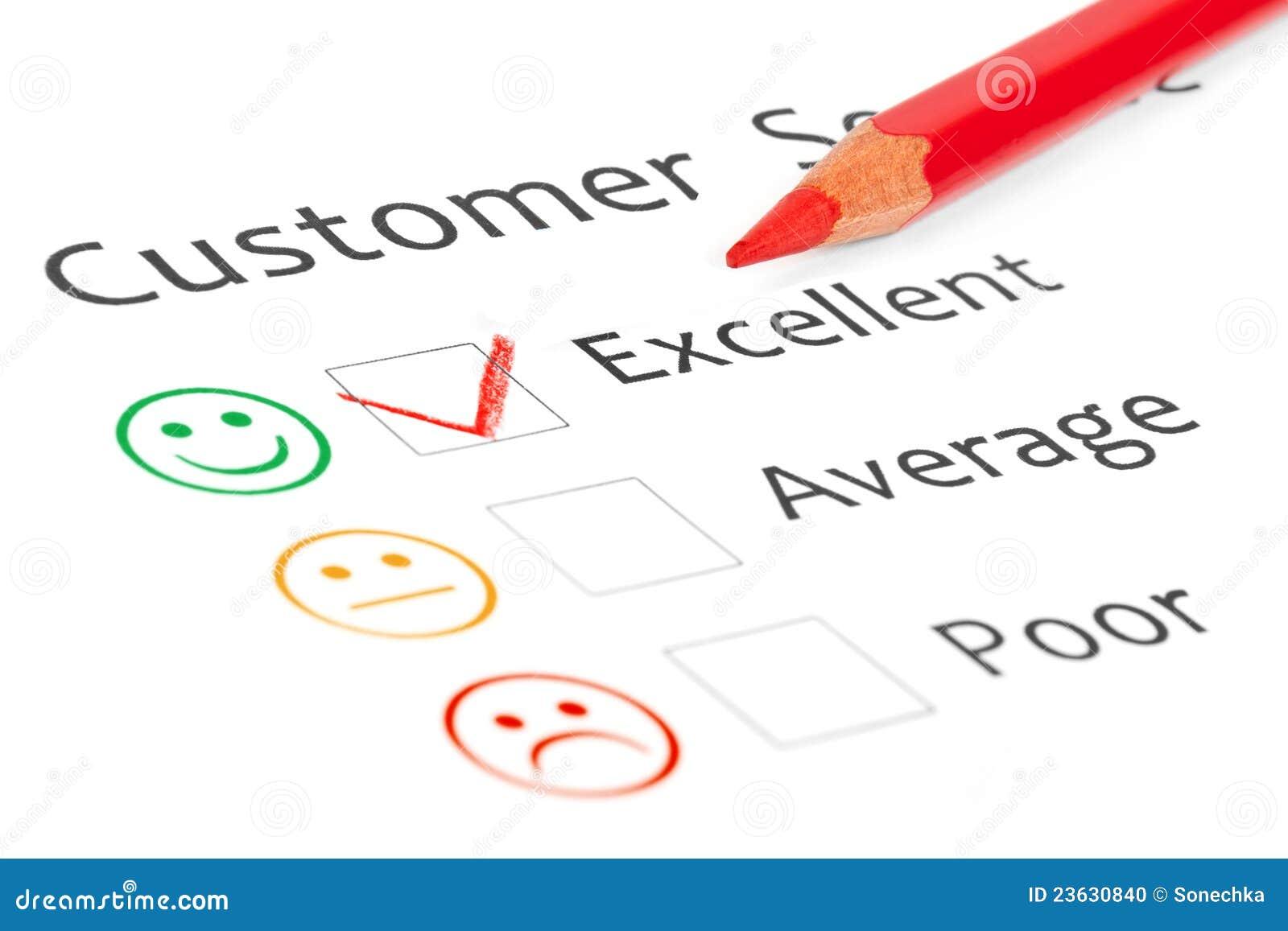 Tacca disposta in casella di controllo eccellente su servizio del cliente