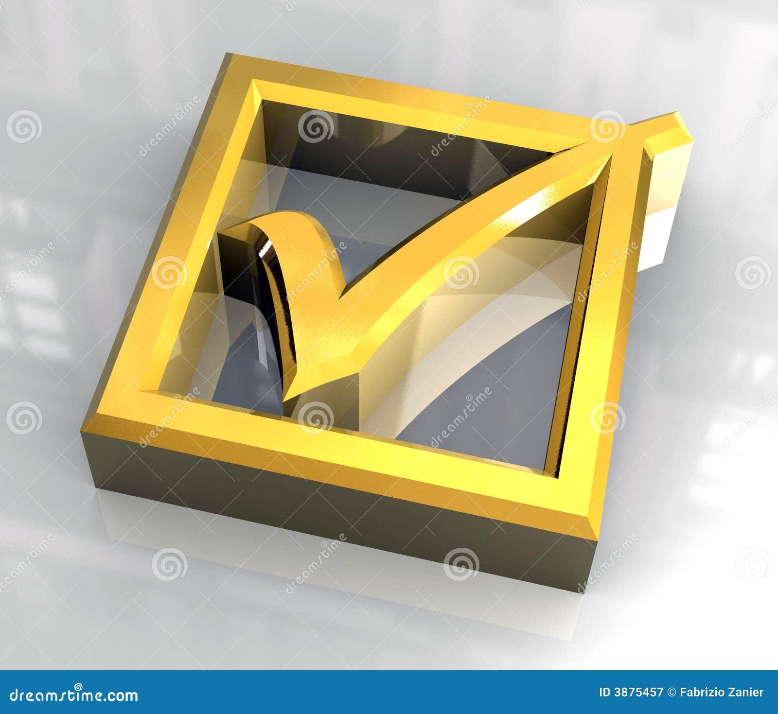 Tacca giusta in oro isolato - 3D