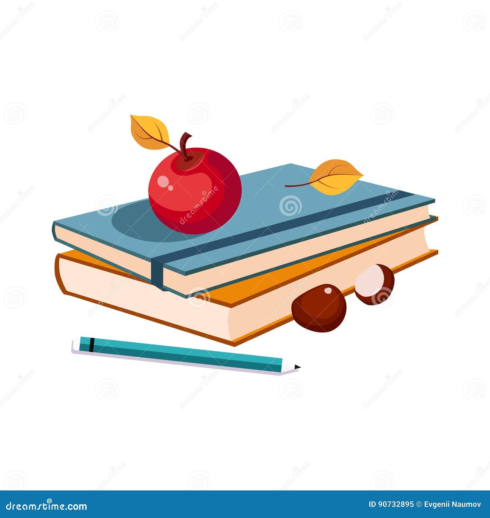 Taccuini, Apple e matita, insieme della scuola ed oggetti relativi di istruzione nello stile variopinto del fumetto
