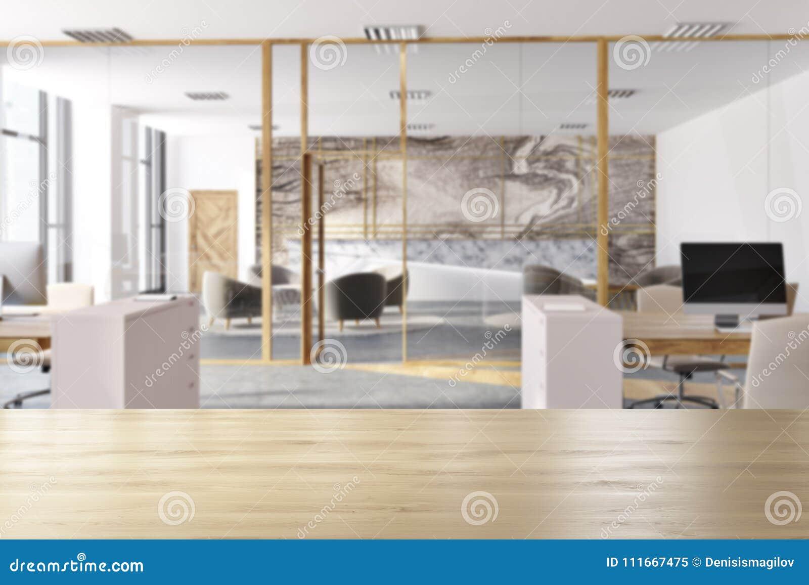Tache floue intérieure de bureau de marbre illustration stock