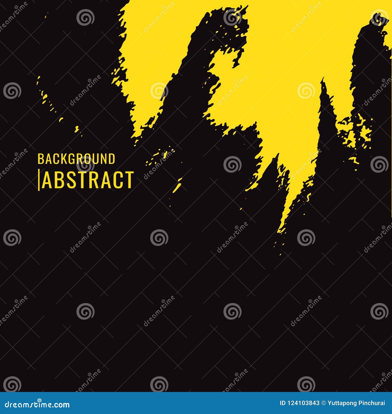 Tache jaune de pinceau sur le fond noir dans le style grunge Le VE