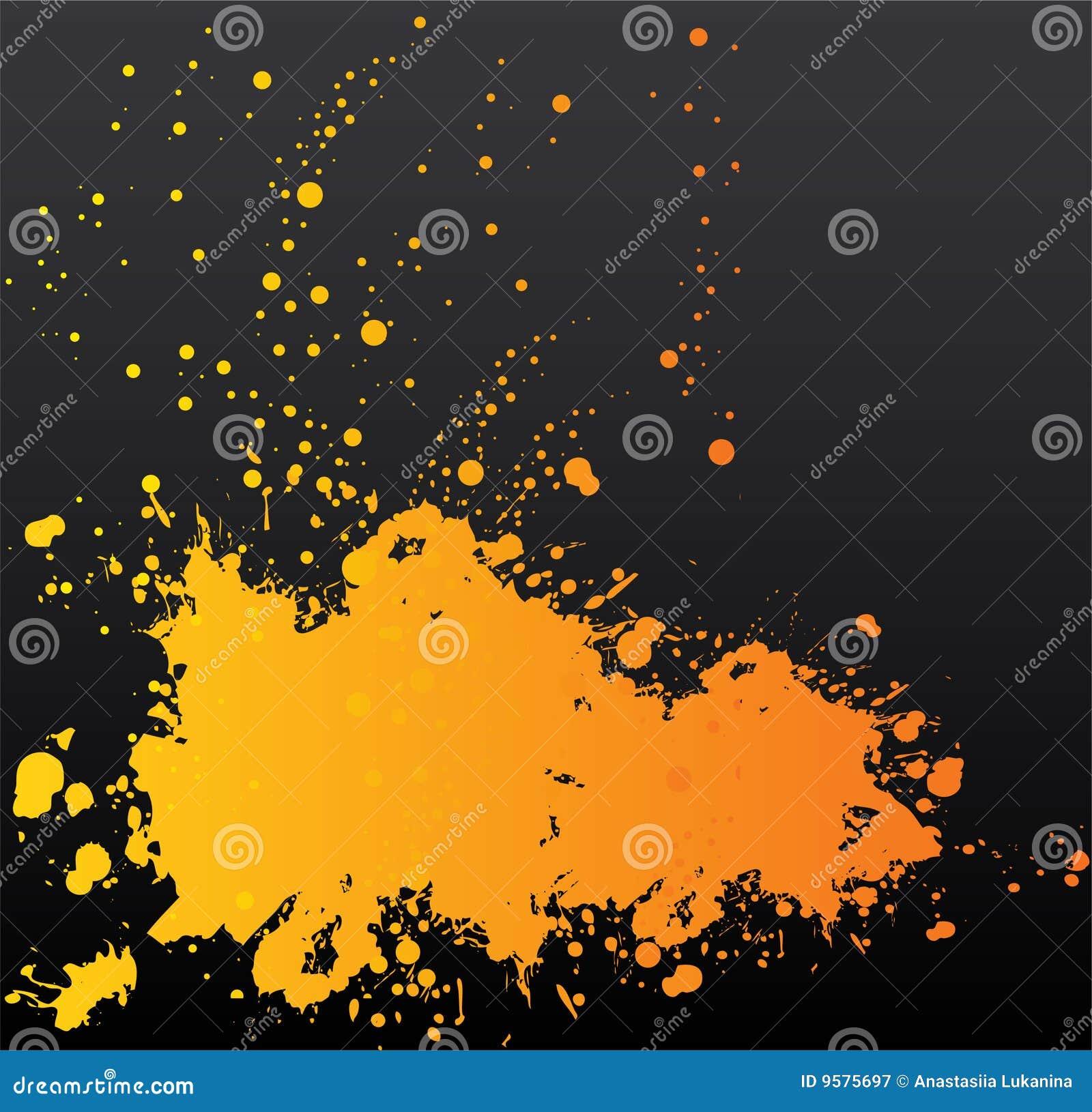 Tache orange sur le noir illustration de vecteur - Tache de javel sur du noir ...
