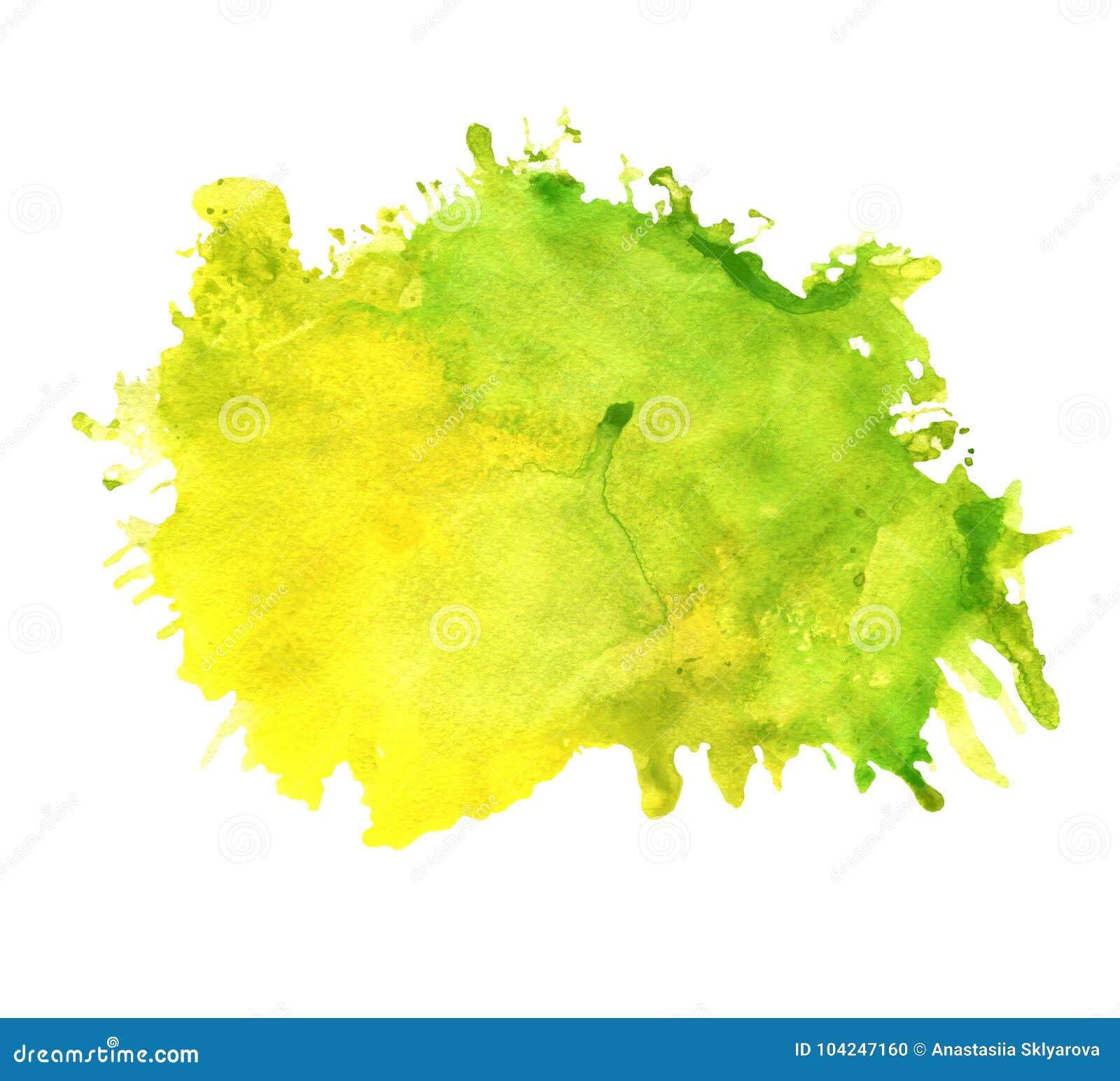 Tache verte et jaune d aquarelle avec des taches