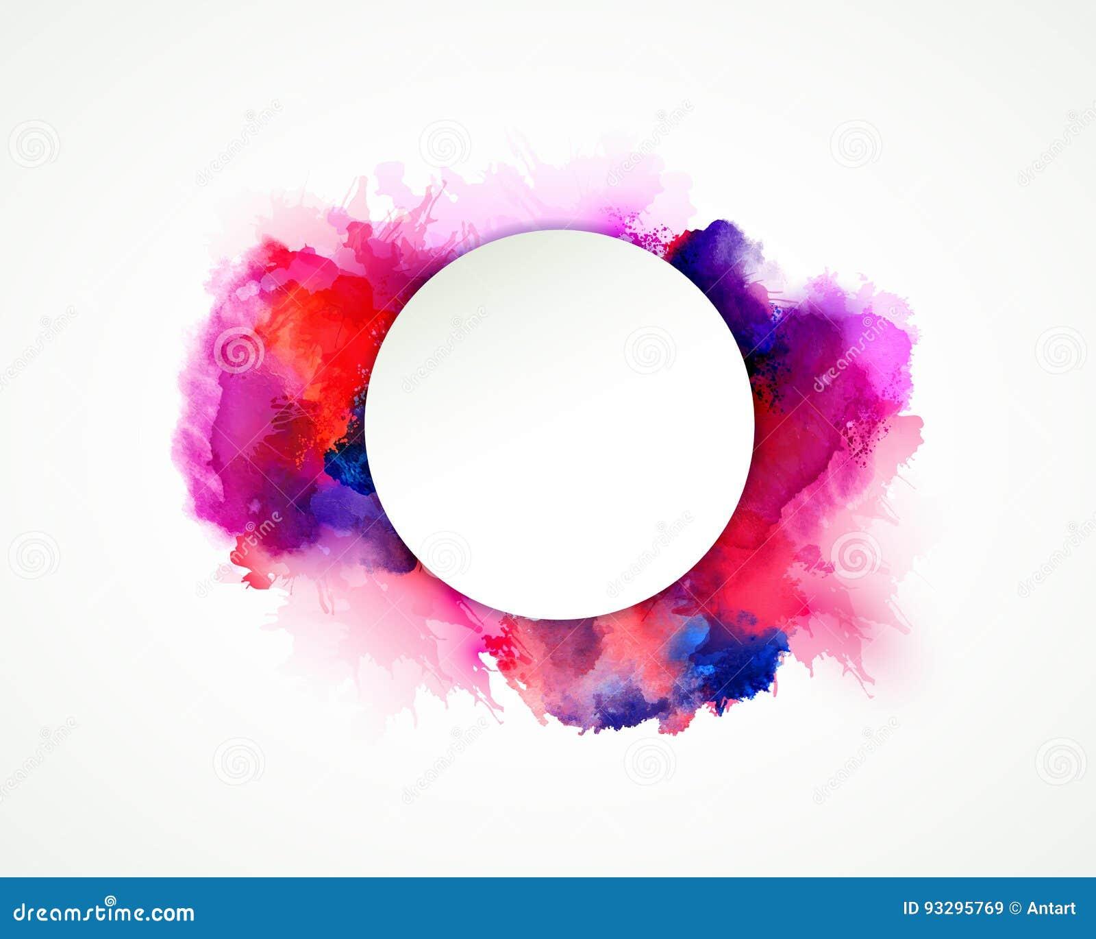 Taches pourpres, bleues, lilas, oranges et roses d aquarelle Élément de couleur lumineux pour le fond artistique abstrait