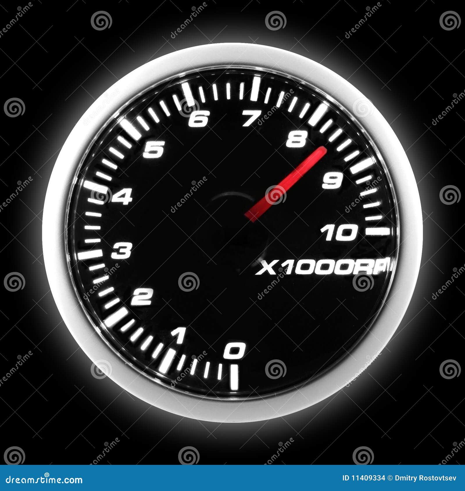 Car tachometer at maximum level on black background.: dreamstime.com/stock-images-tachometer-image11409334