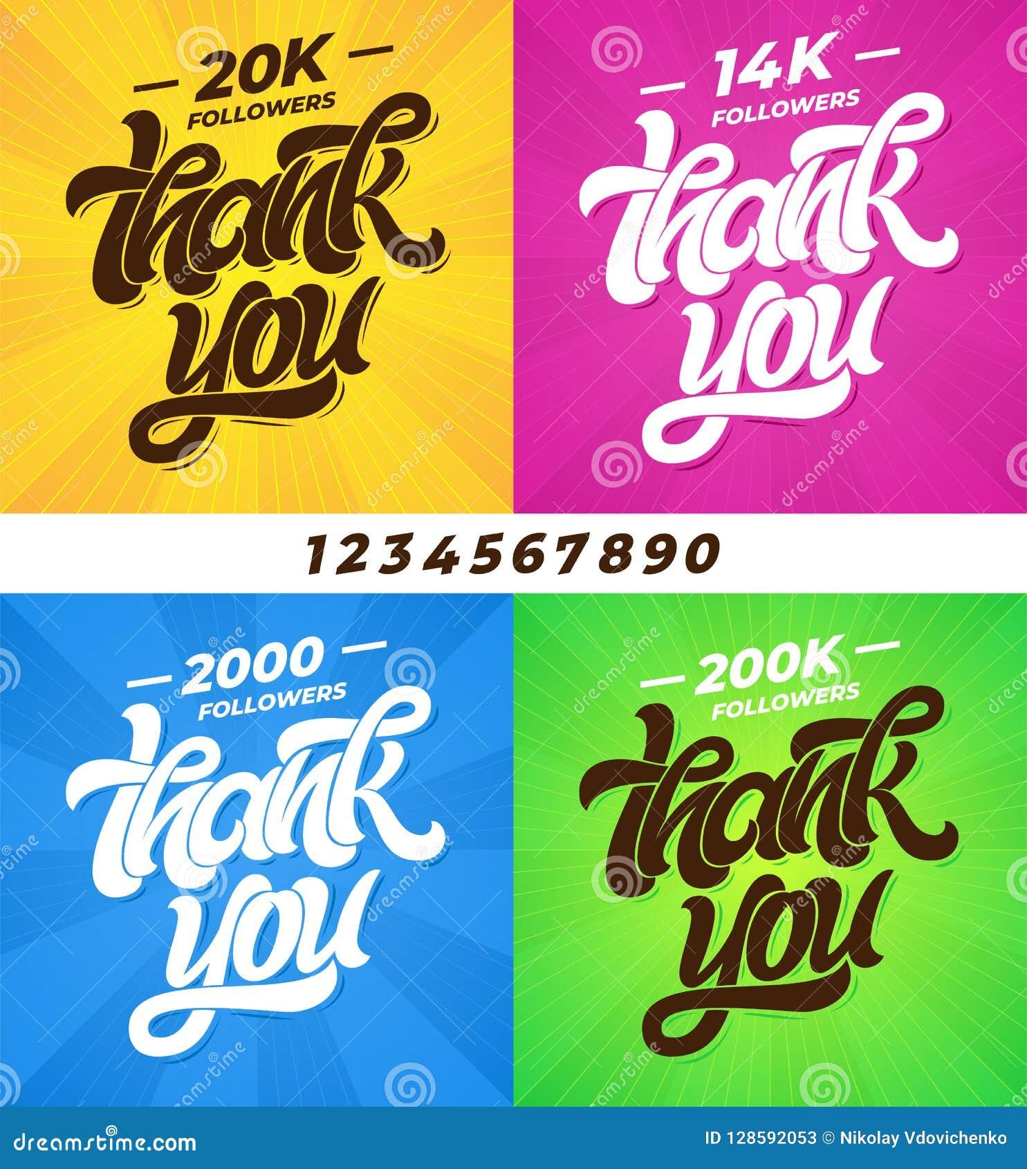 Tacka dig anhängare Uppsättning av baner för socialt massmedia med bokstäver och alla siffror Modern borstekalligrafi redigerbart