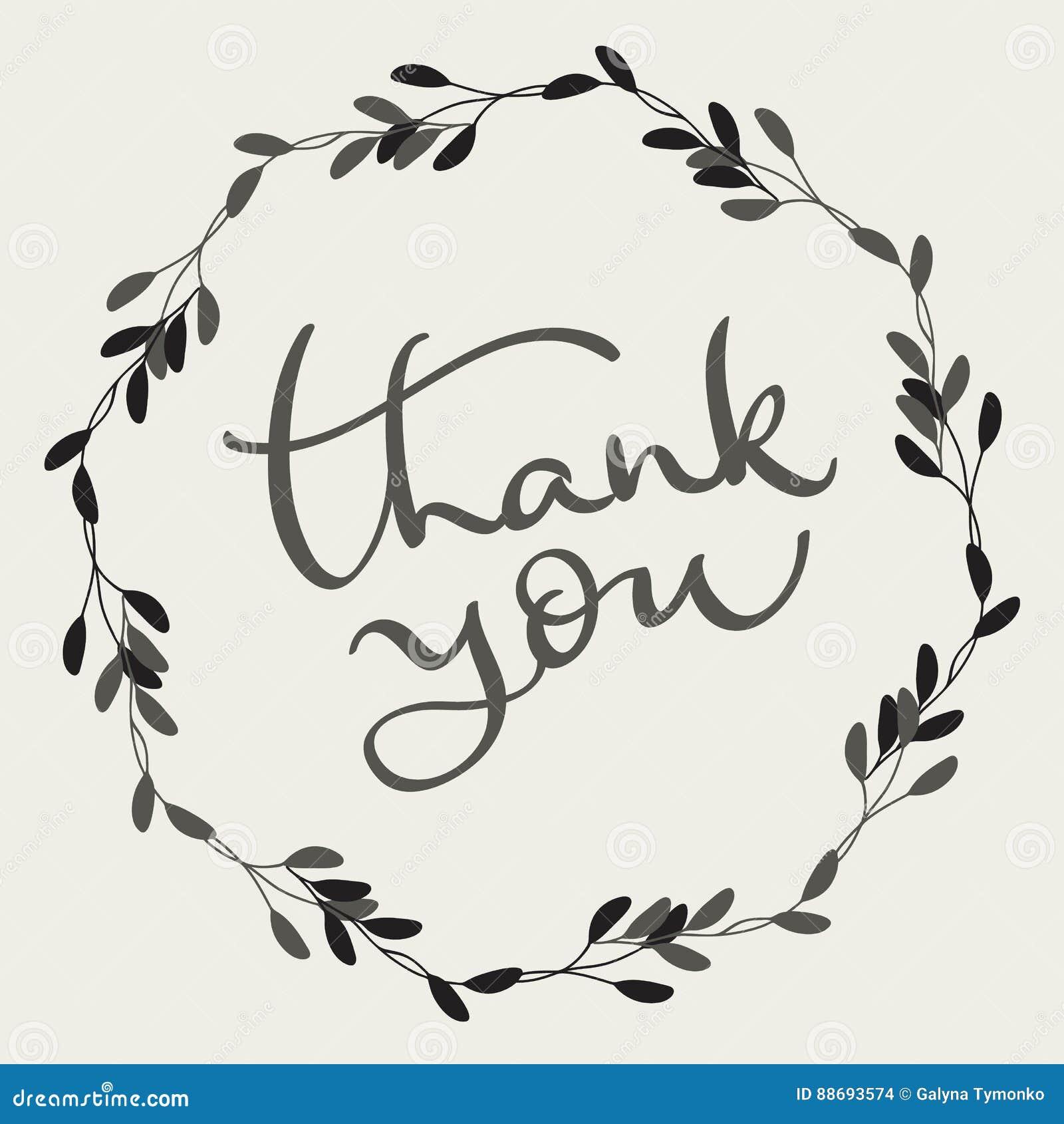 Tacka dig att smsa med den runda ramen på bakgrund Illustration EPS10 för kalligrafibokstävervektor