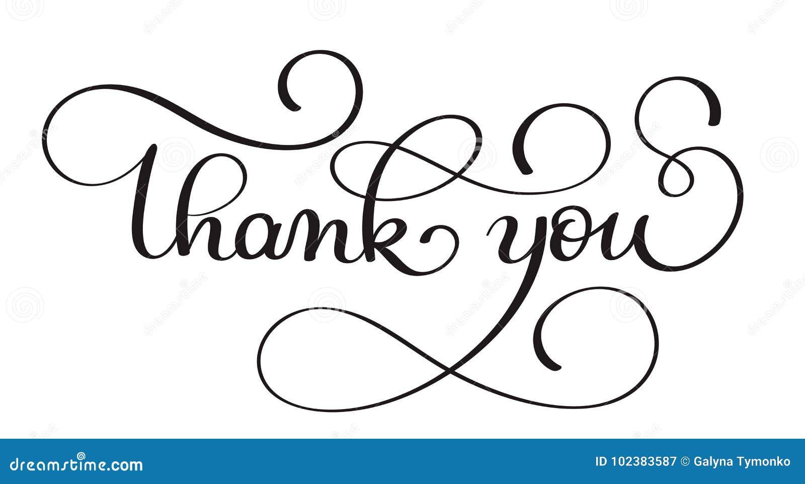 Tacka dig handskriven kalligrafivektortext mörk illustration för borstepennbokstäver som isoleras på vit bakgrund