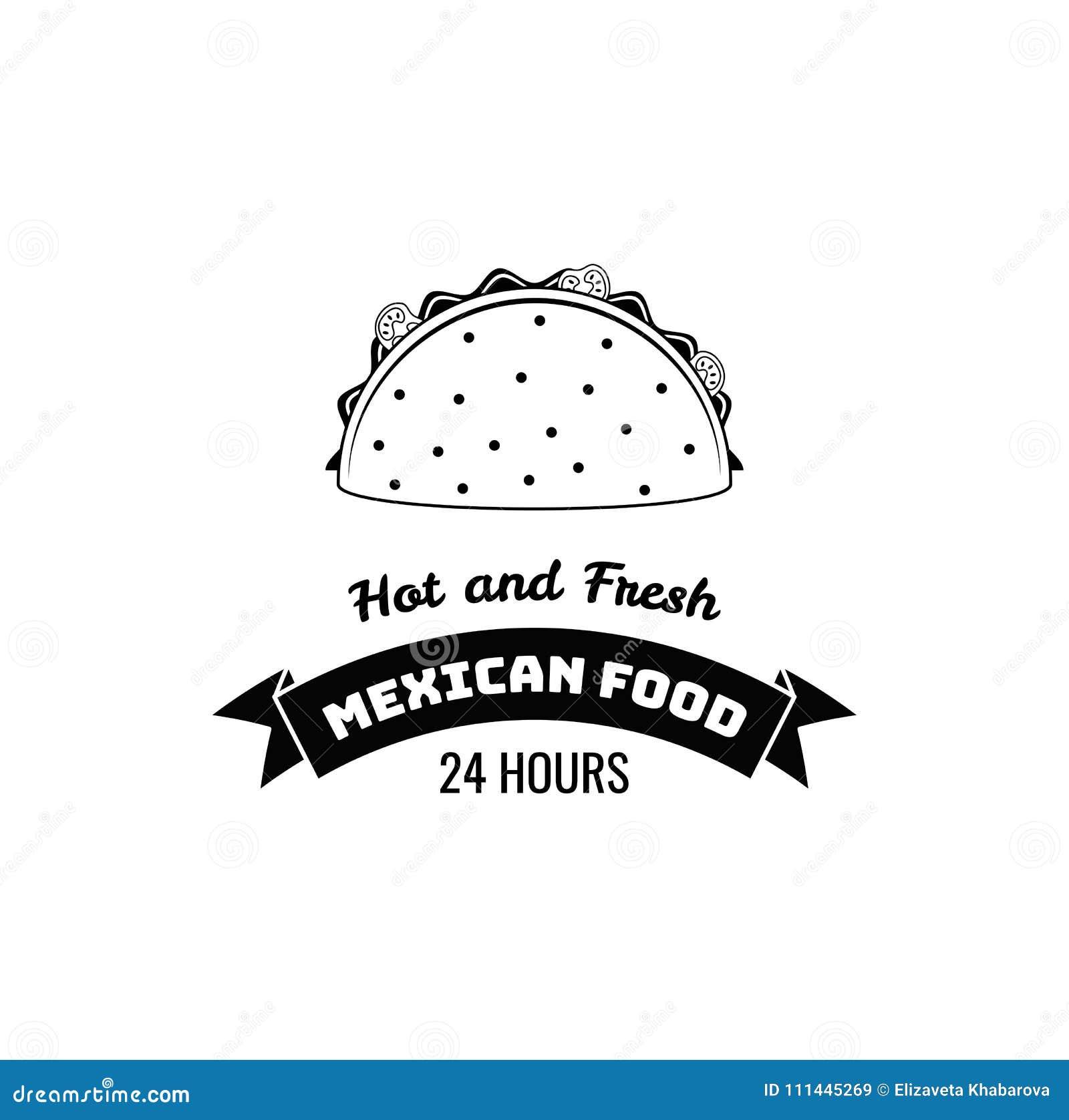 Taco meksykanina jedzenie Gorący i świeży literowanie również zwrócić corel ilustracji wektora