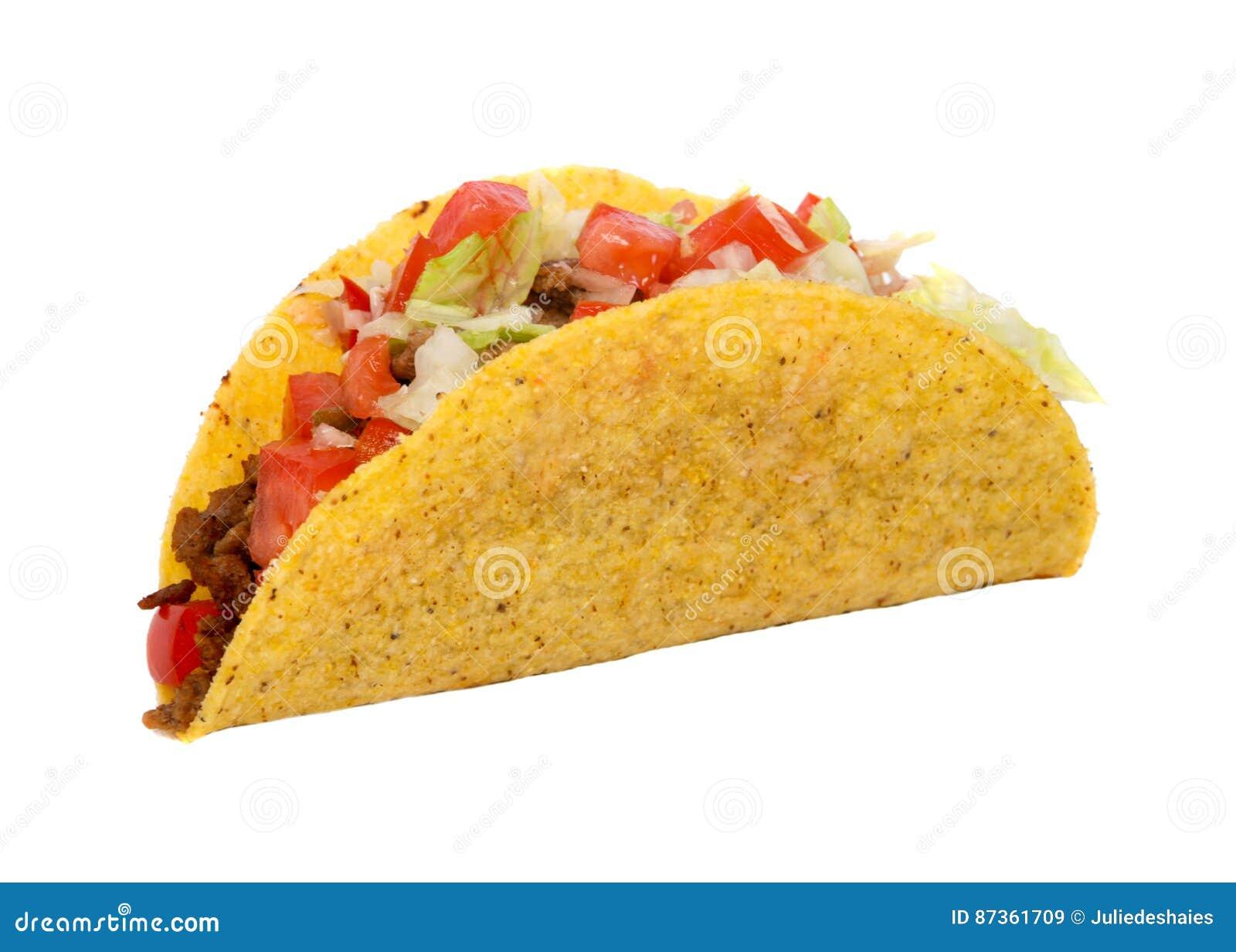 Taco messicano del manzo con il pomodoro e la lattuga