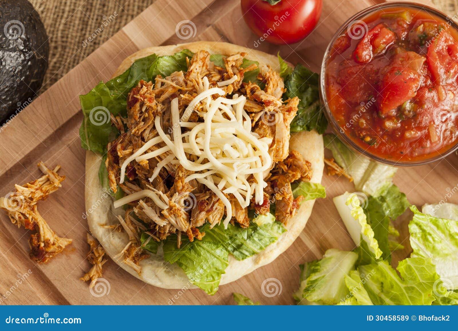 Taco mexicano caseiro do Flatbread com carne