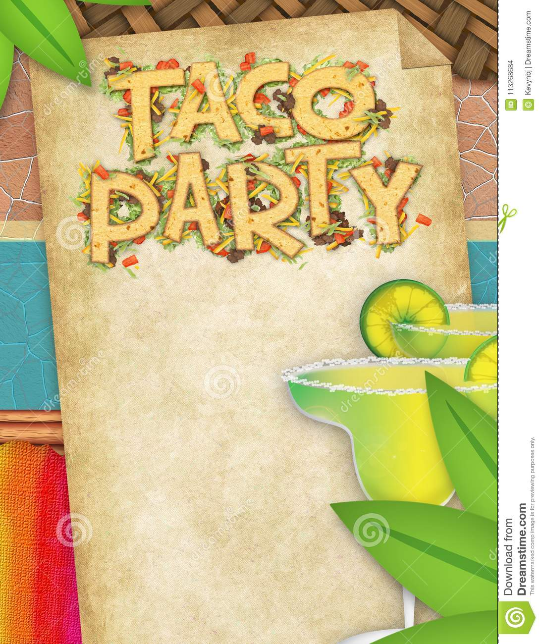 Taco Party Flyer with Margaritas