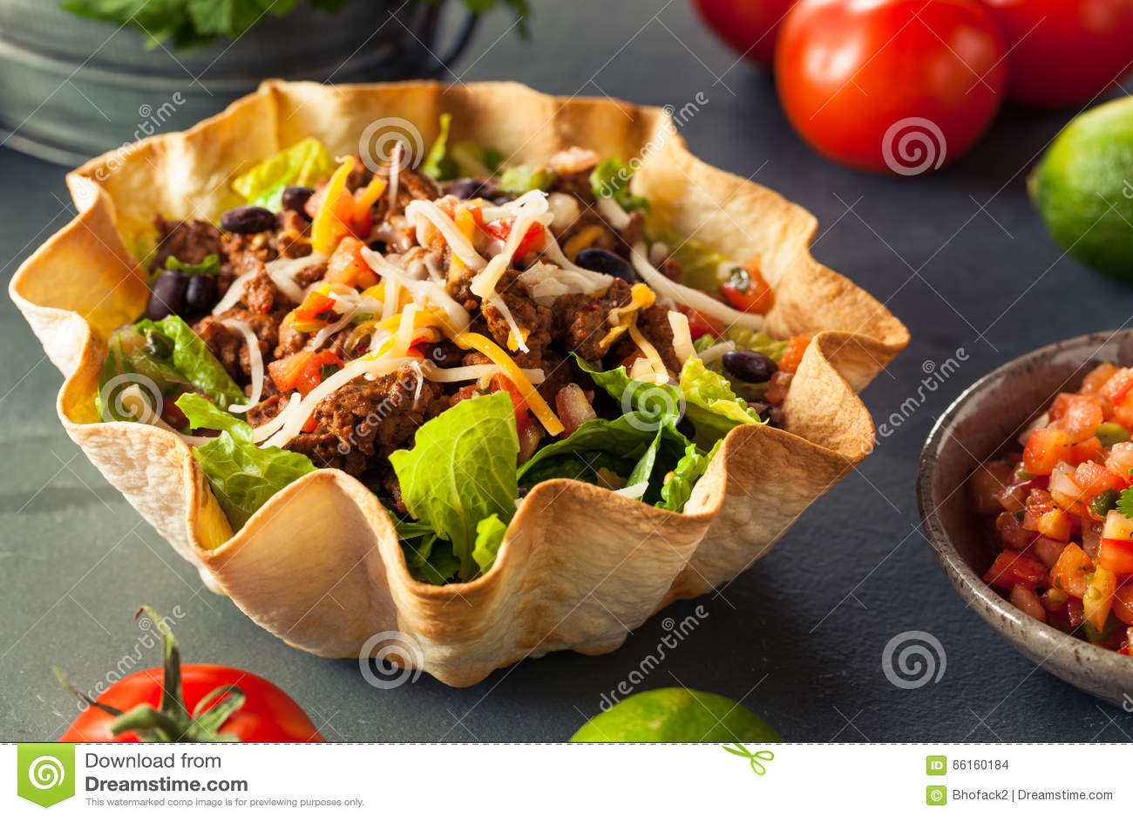 Taco Salad In A Tortilla Bowl Stock Photo - Image: 66160184