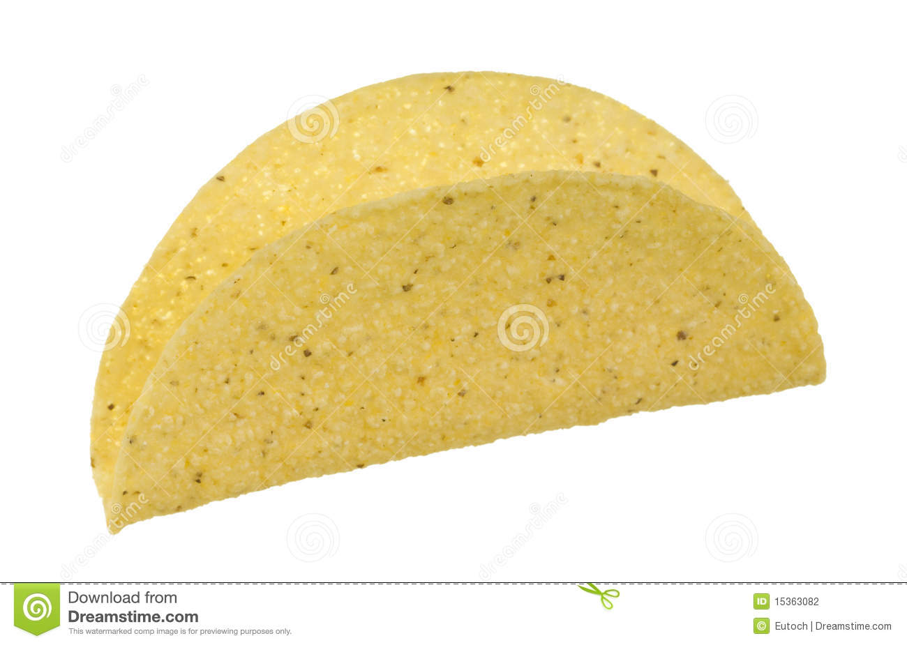 Yellow corn taco shell; isolated on white background.
